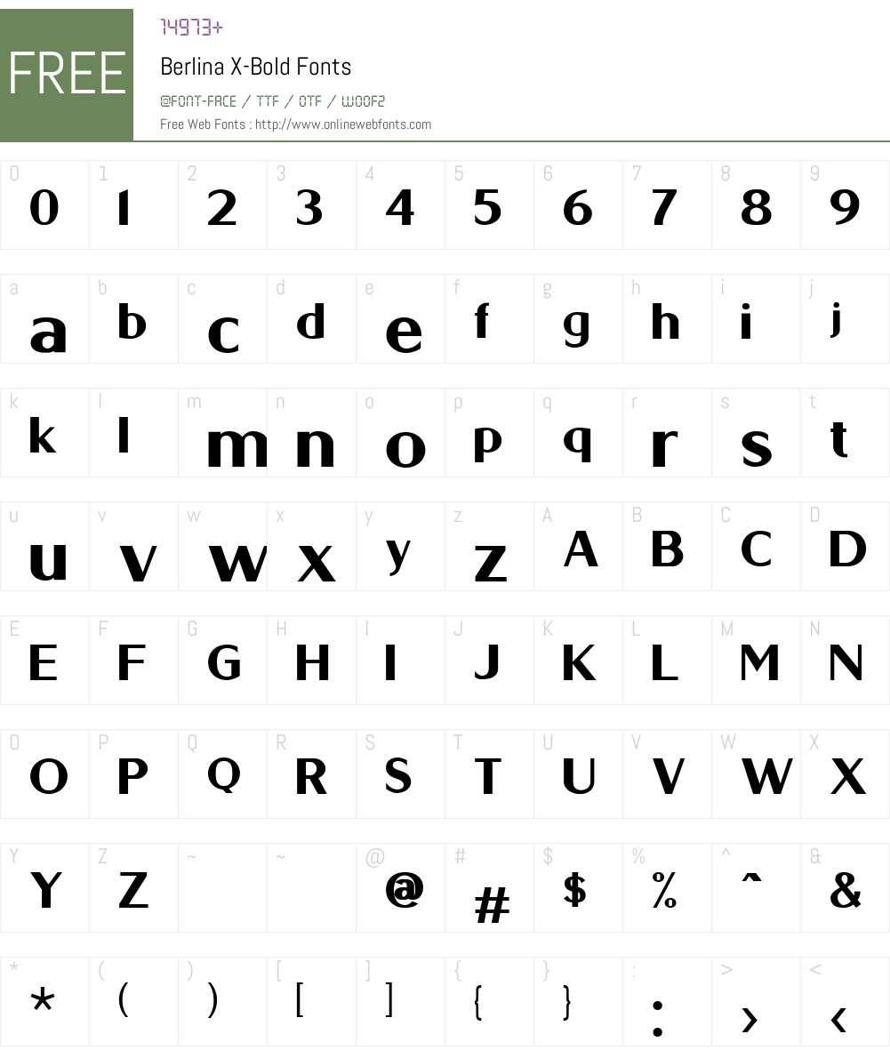 Berlina X-Bold Font Screenshots