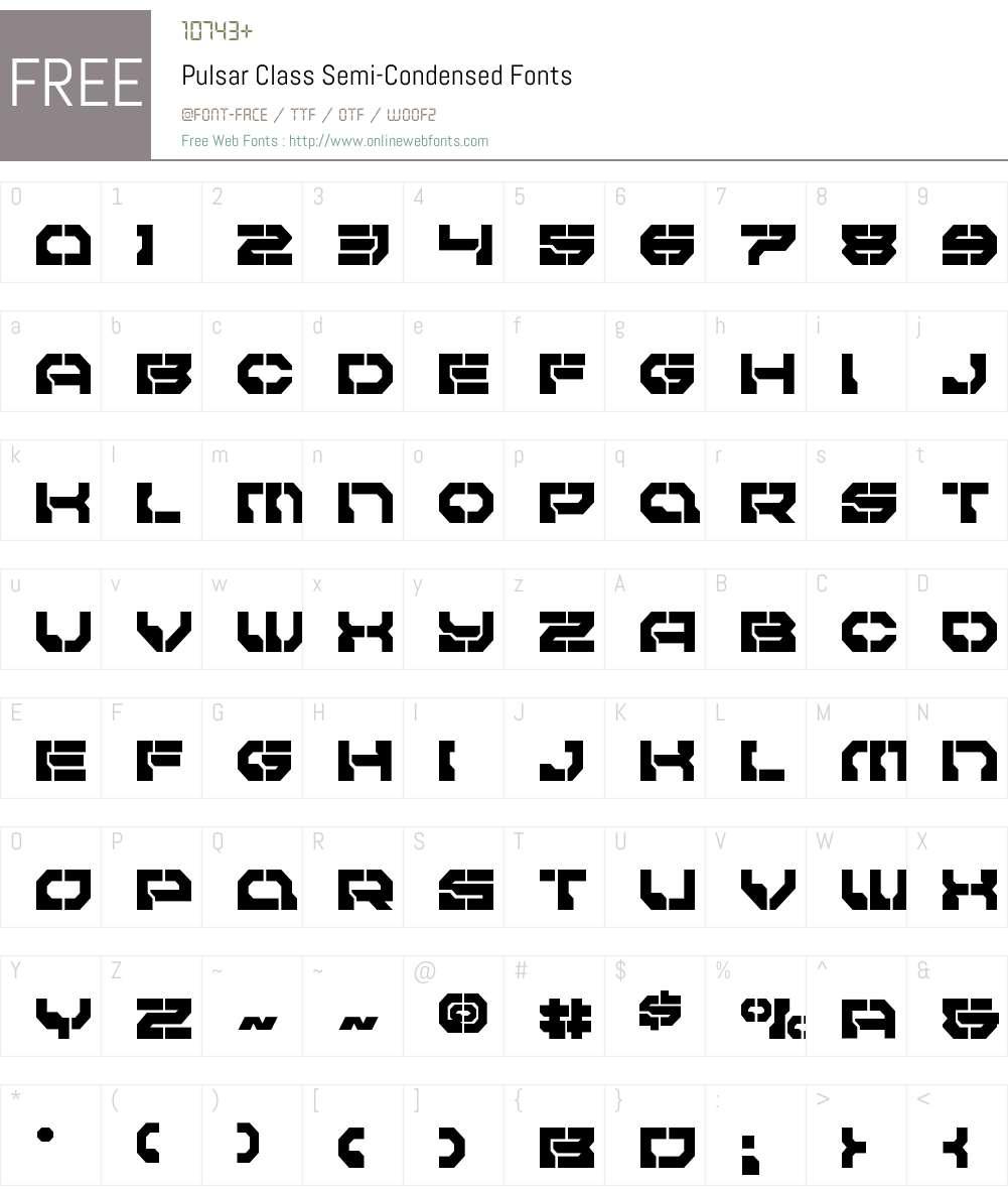 Pulsar Class Semi-Condensed Font Screenshots