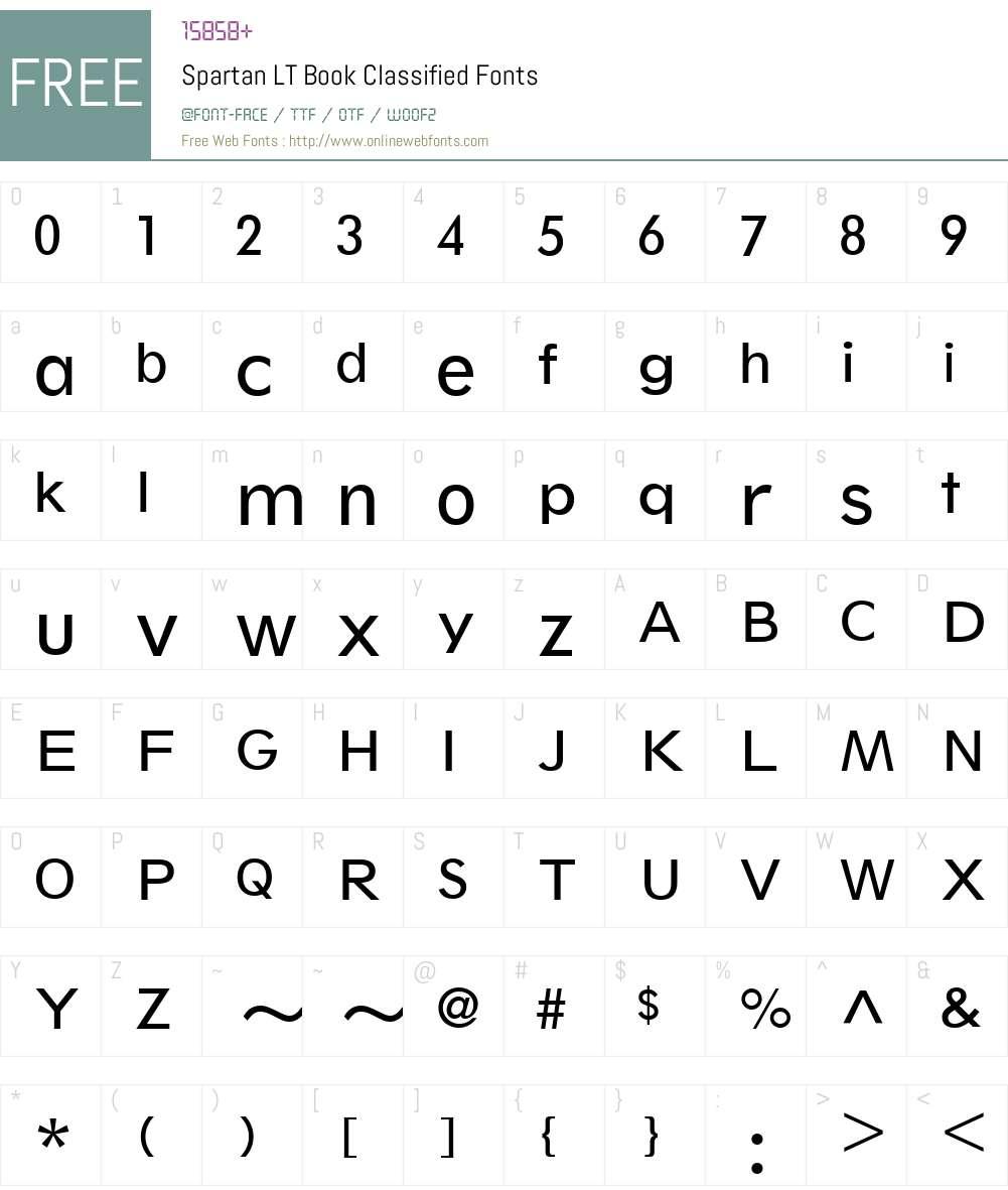 Spartan LT BookClassified Font Screenshots