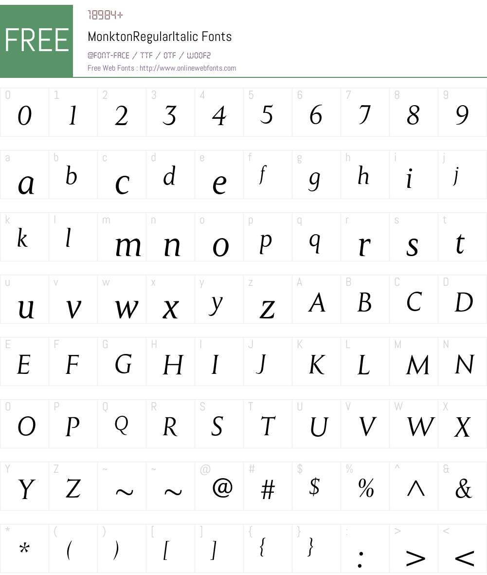 MonktonRegularItalic Font Screenshots