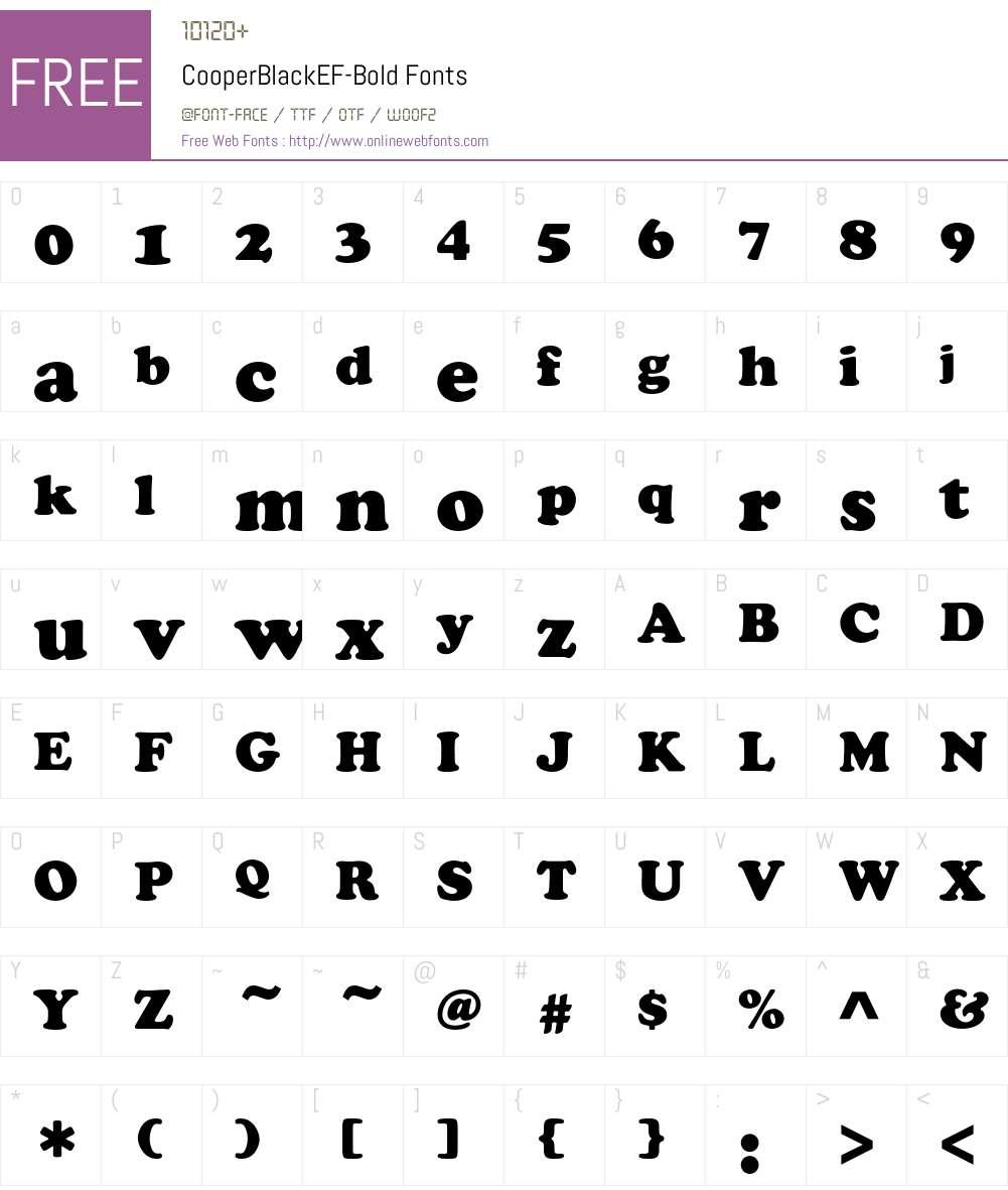 CooperBlackEF-Bold Font Screenshots