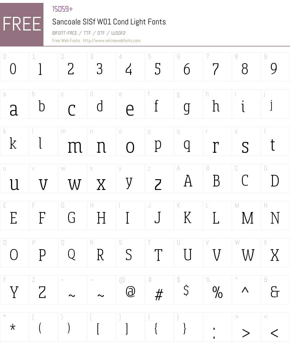 SancoaleSlSfW01-CondLight Font Screenshots