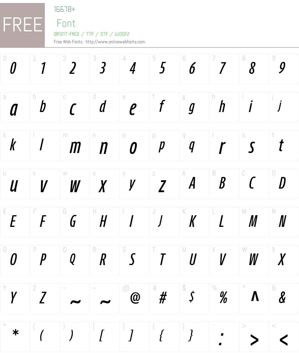 AxisLatinCompPro-MediumIt Font Screenshots
