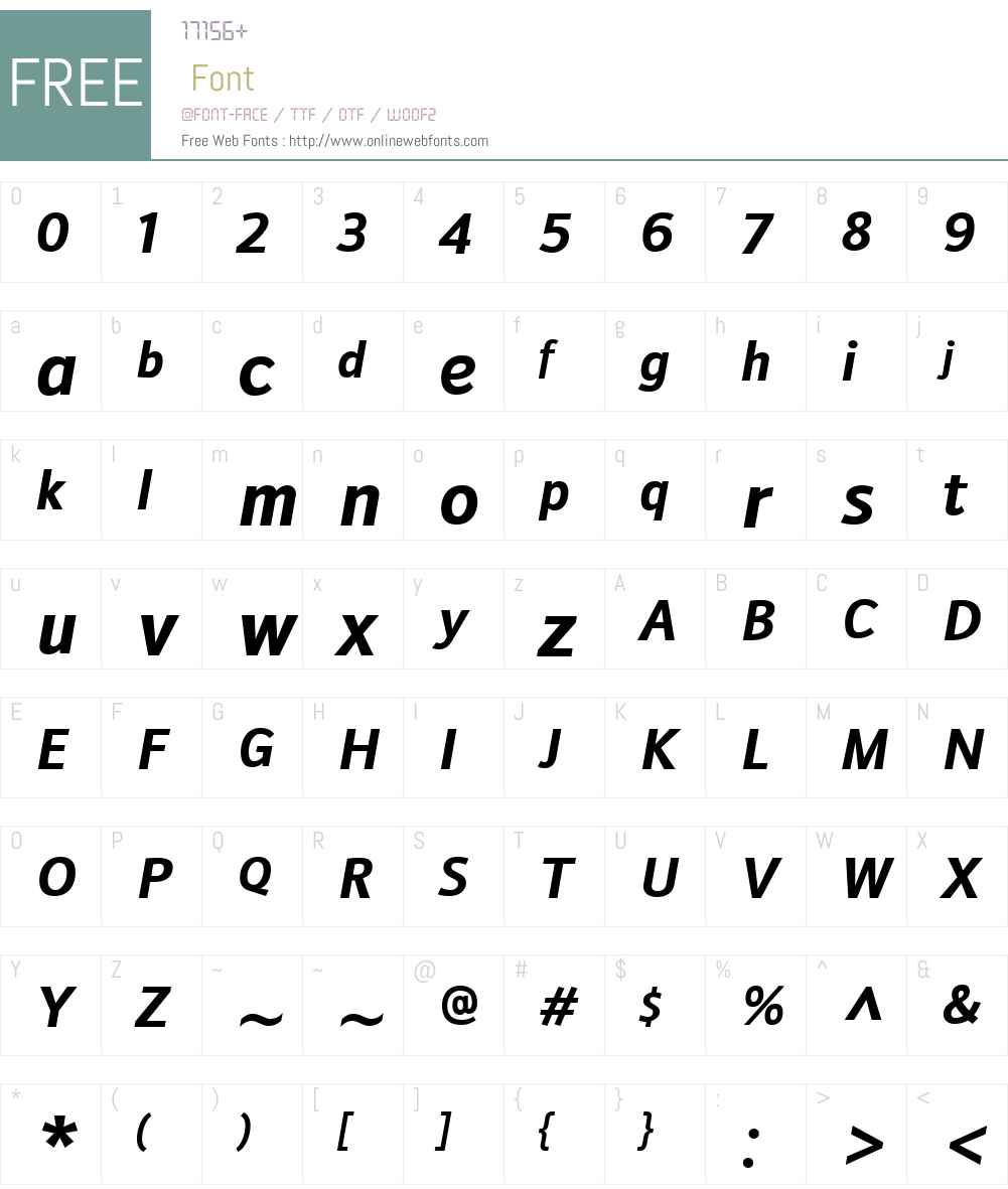 DoradaniW00-BoldItalic Font Screenshots
