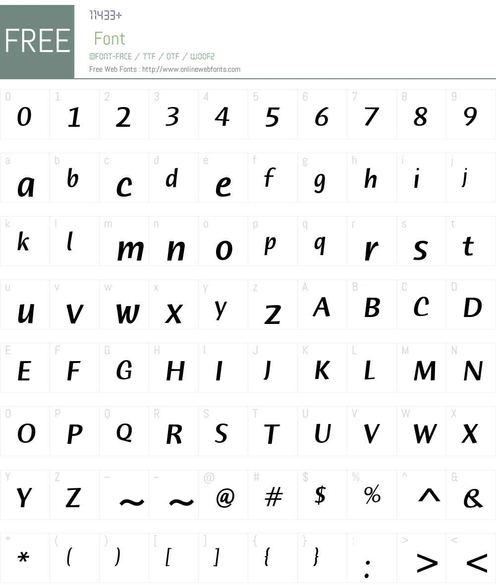 HumanaSansITCW01-MediumIt Font Screenshots