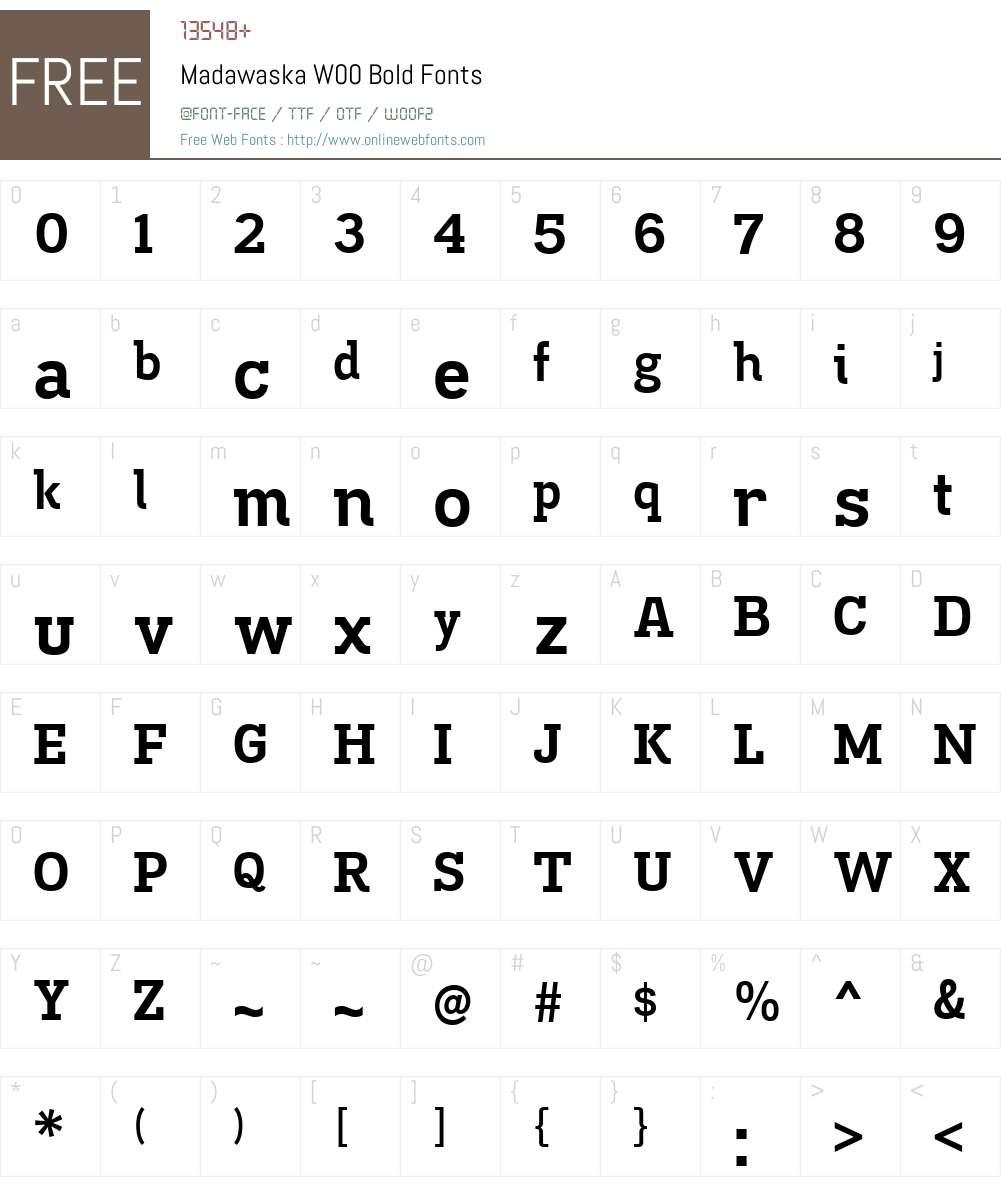 MadawaskaW00-Bold Font Screenshots
