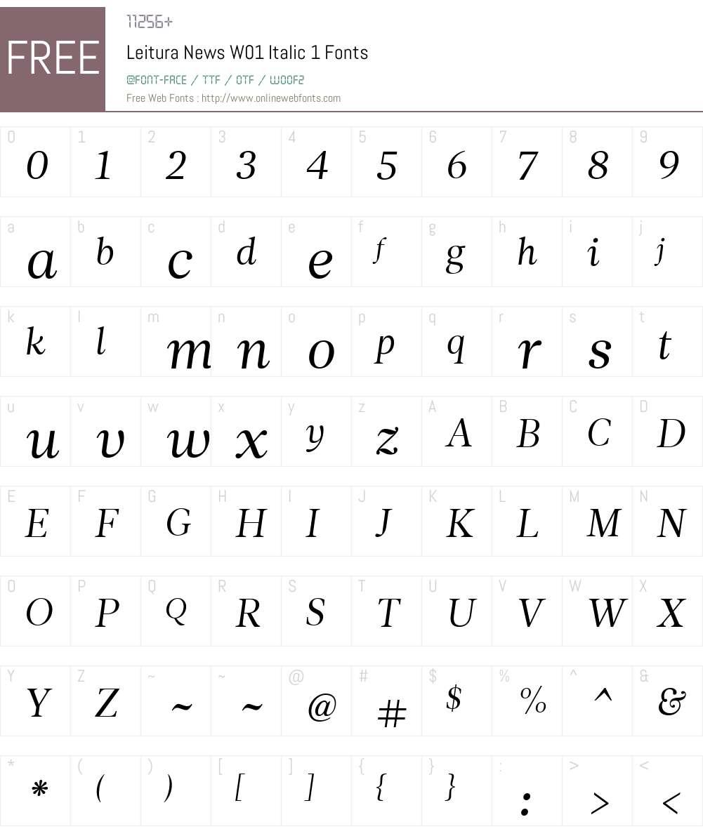 LeituraNewsW01-Italic1 Font Screenshots