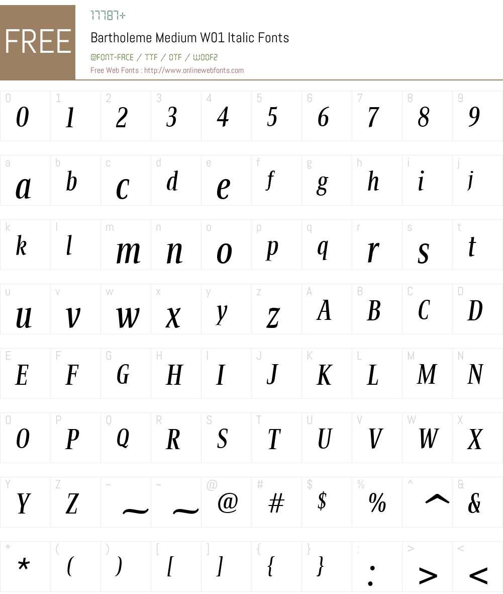 BartholemeMediumW01-Italic Font Screenshots