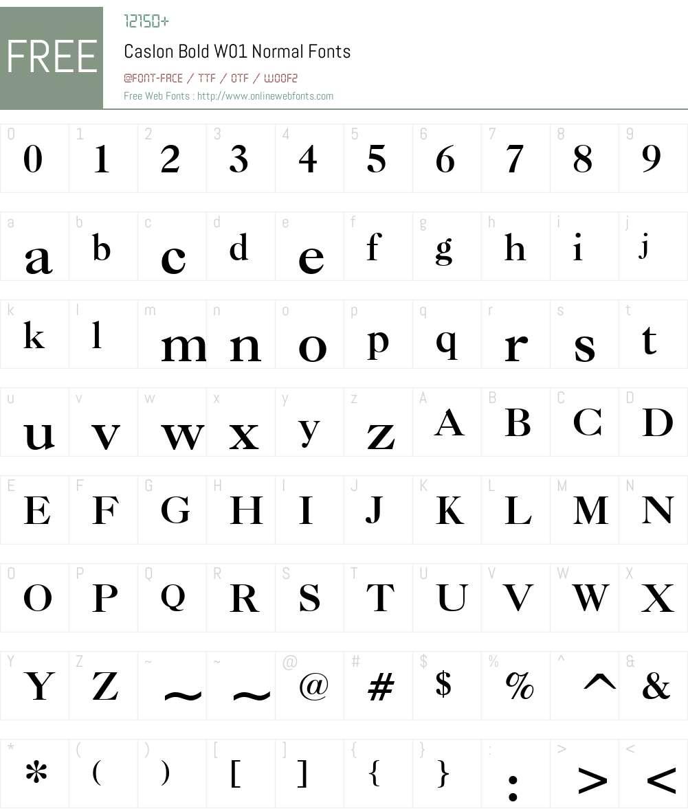 CaslonBoldW01-Normal Font Screenshots