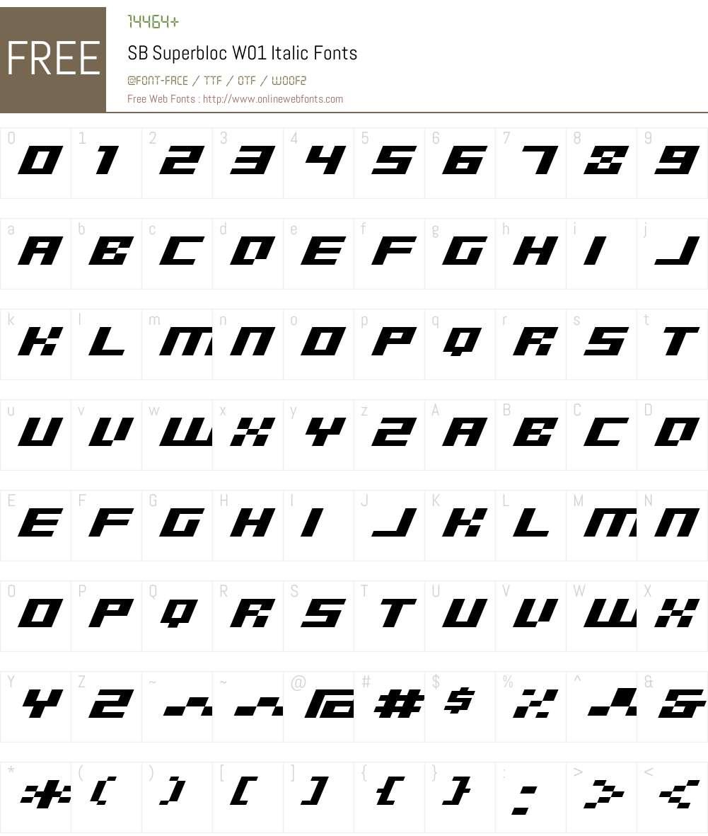 SBSuperblocW01-Italic Font Screenshots