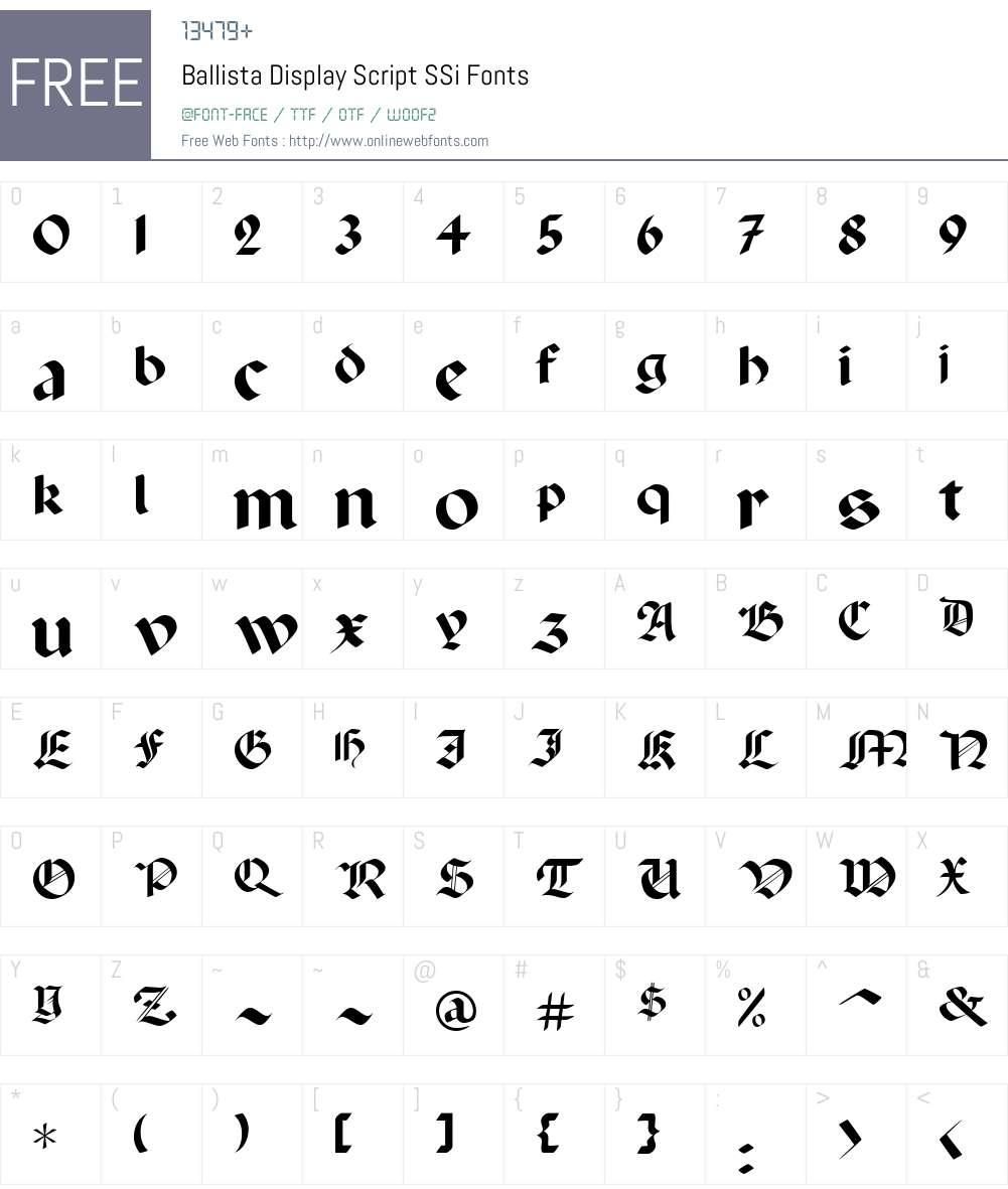 Ballista Display Script SSi Font Screenshots
