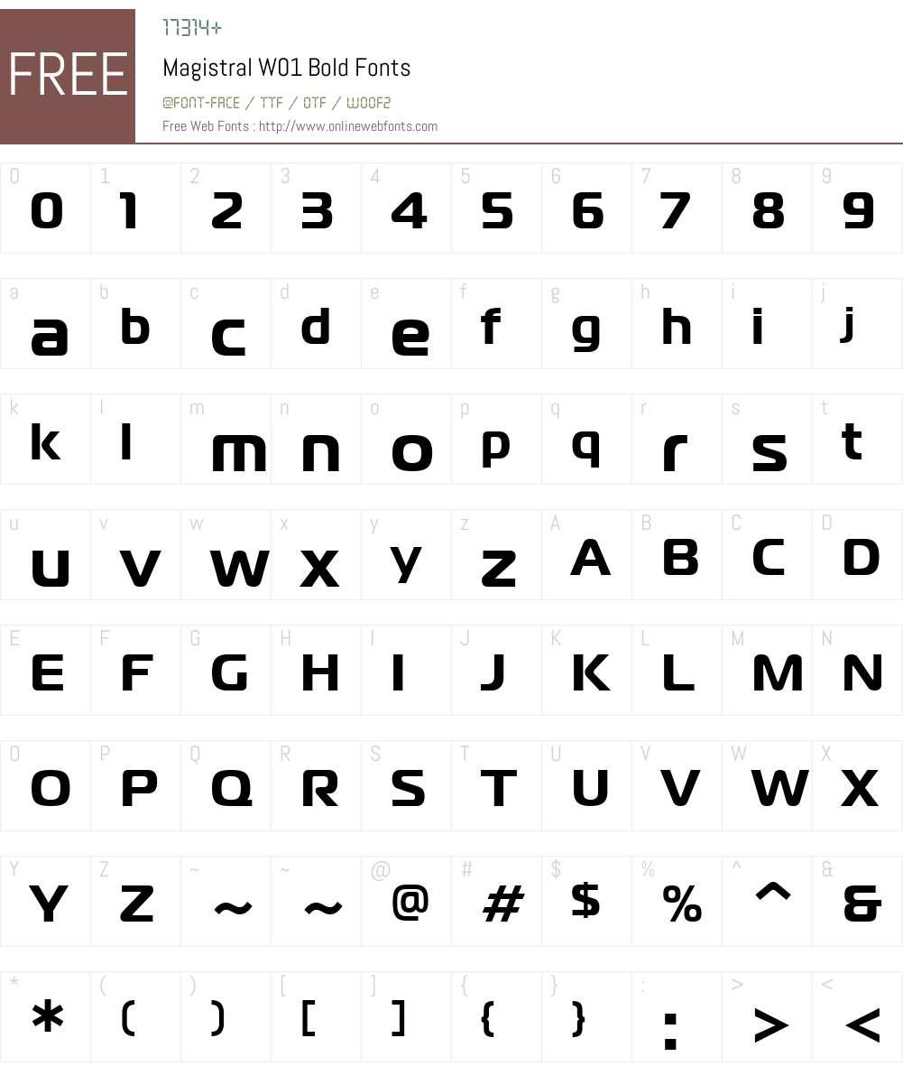 MagistralW01-Bold Font Screenshots