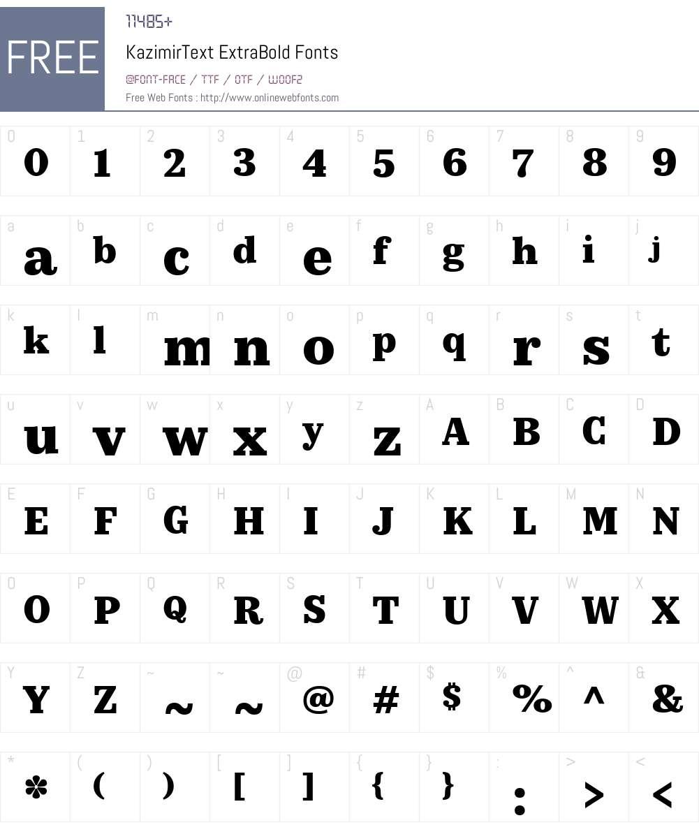 KazimirText-ExtraBold Font Screenshots