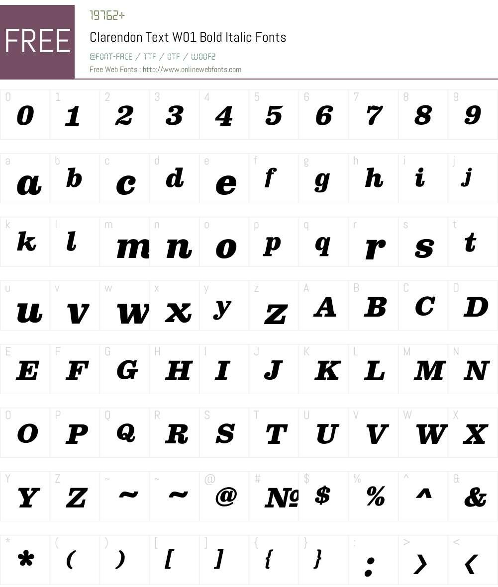 ClarendonTextW01-BoldItalic Font Screenshots