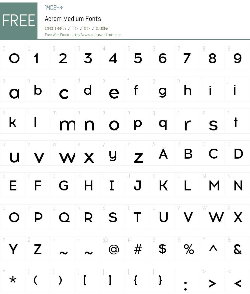 Acrom-Medium Font Screenshots