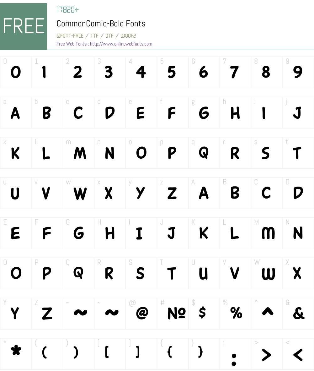 CommonComic-Bold Font Screenshots