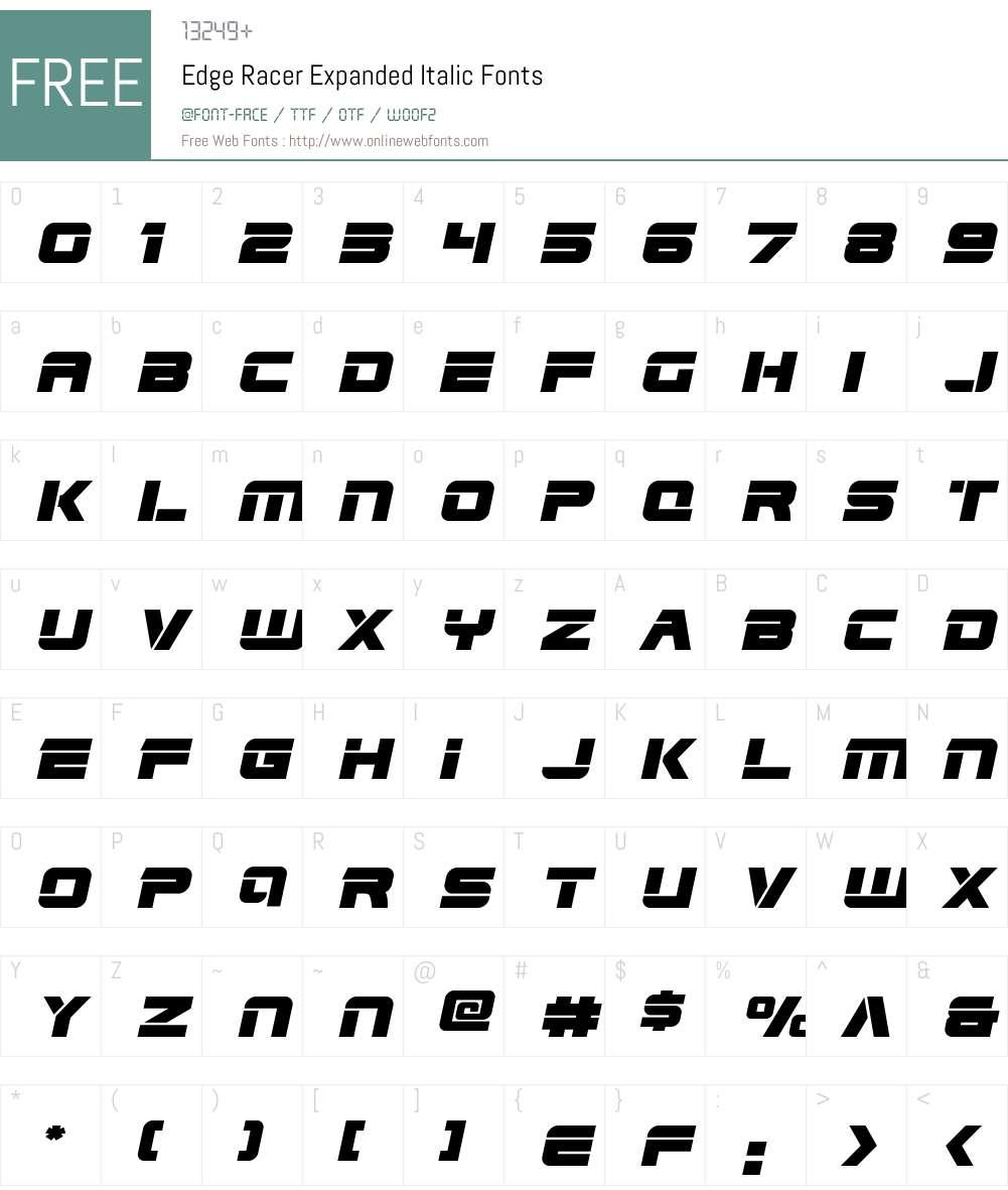 Edge Racer Expanded Italic Font Screenshots