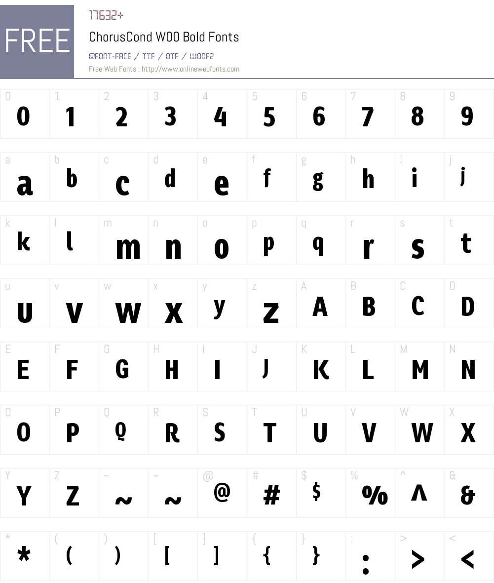 ChorusCondW00-Bold Font Screenshots