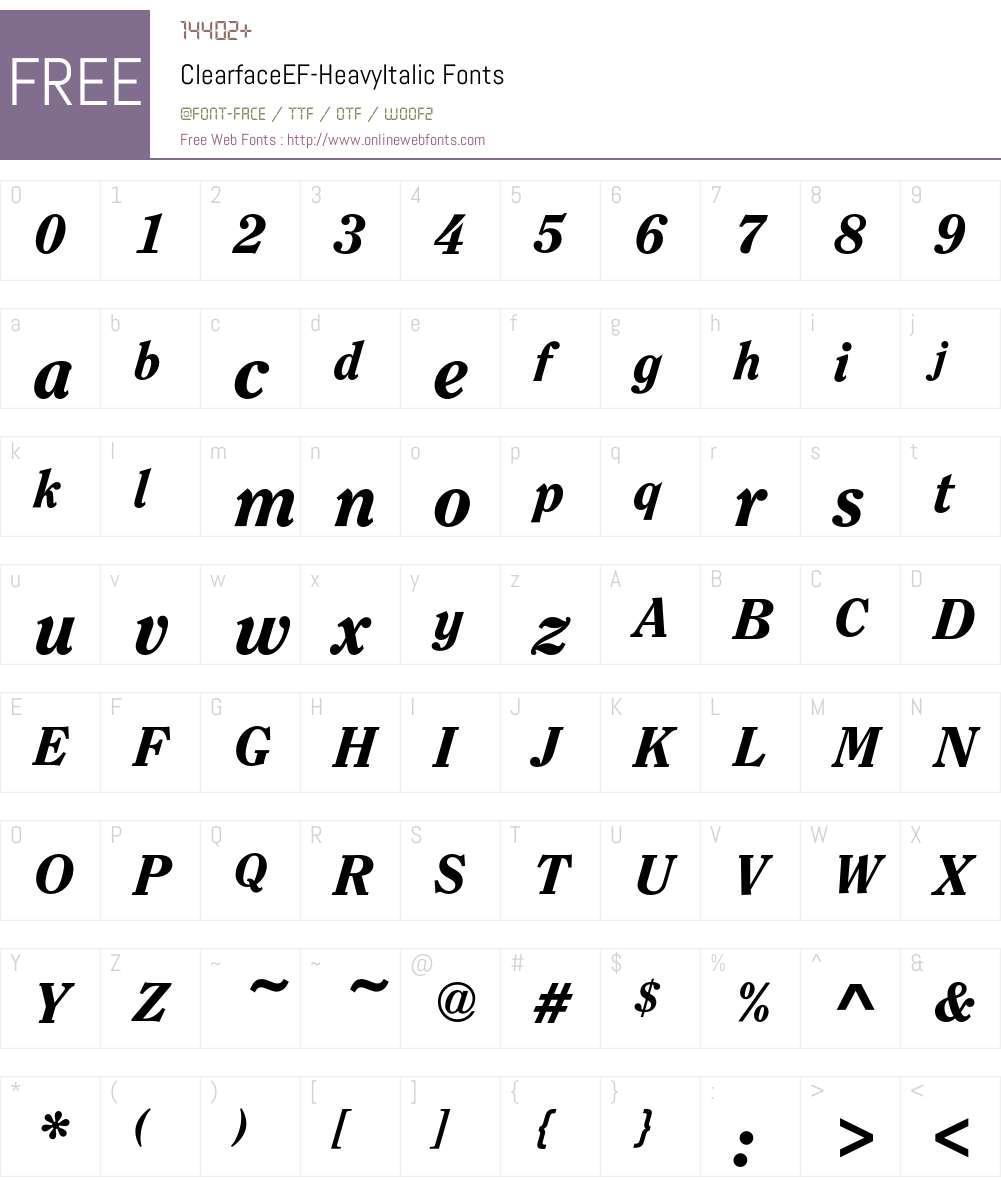 ClearfaceEF-HeavyItalic Font Screenshots