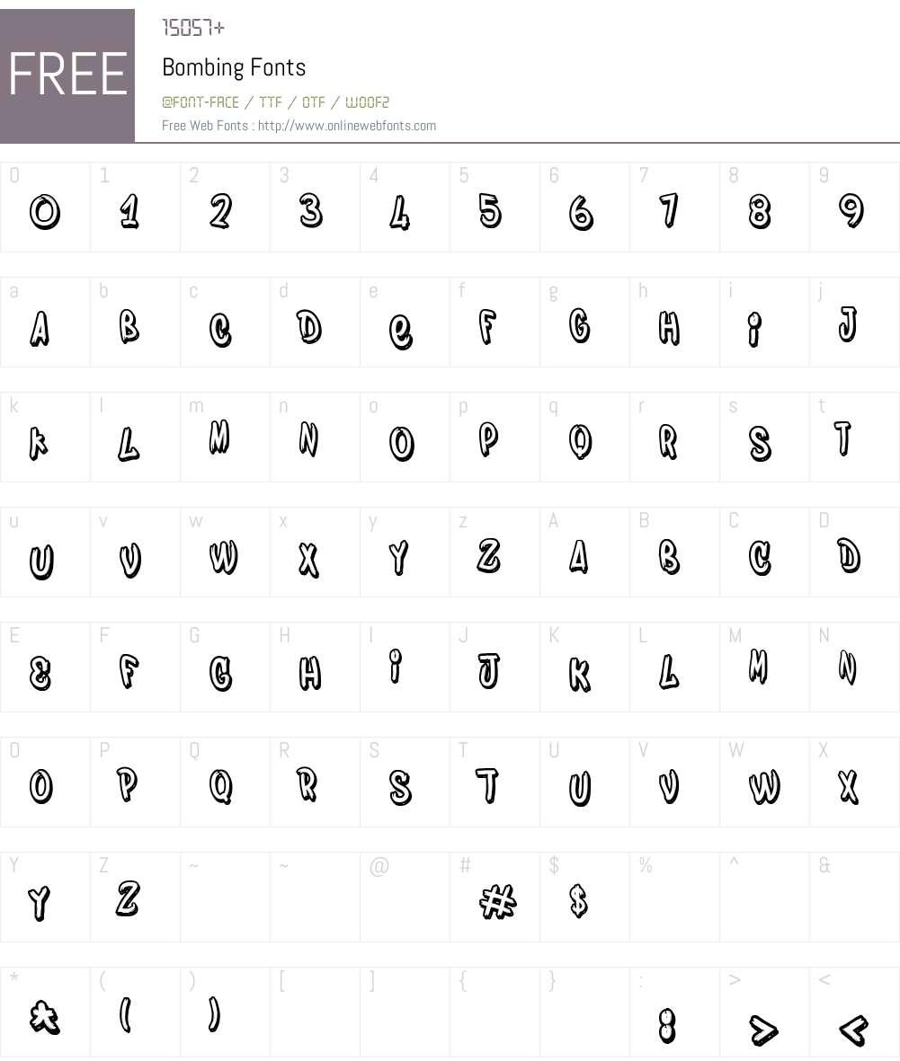Bombing Font Screenshots