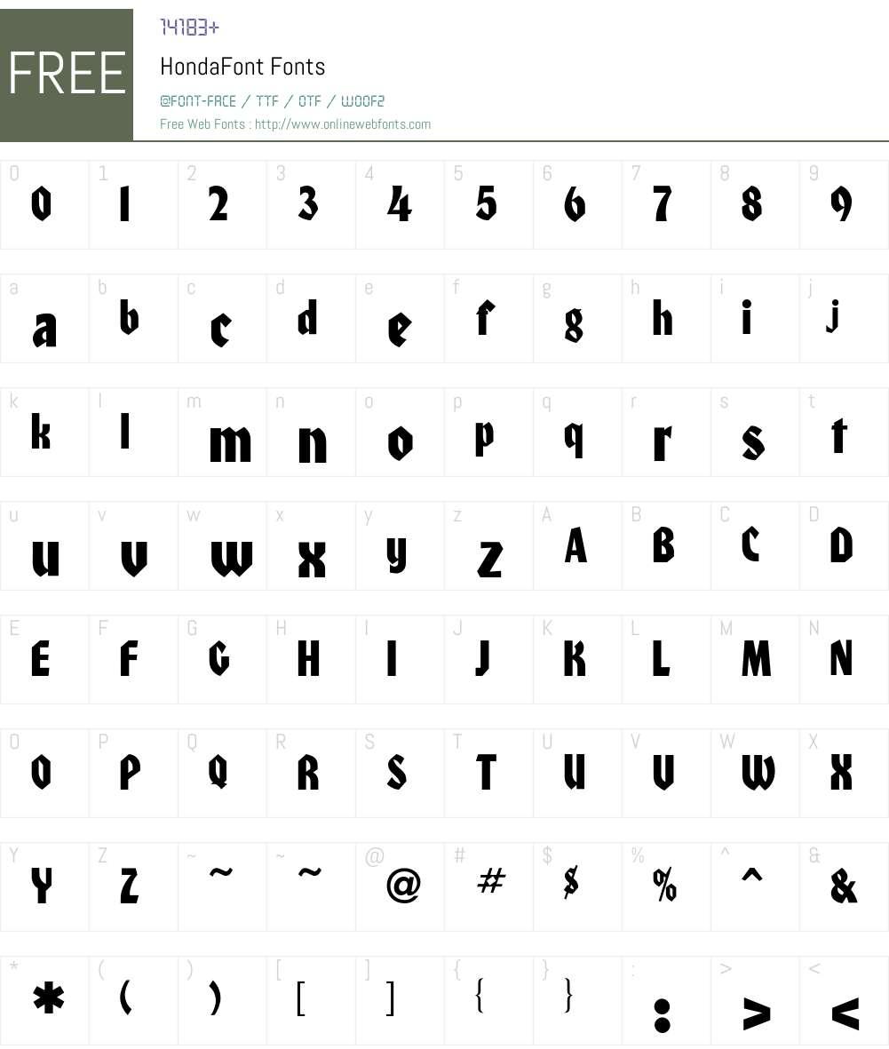 Honda Font Screenshots