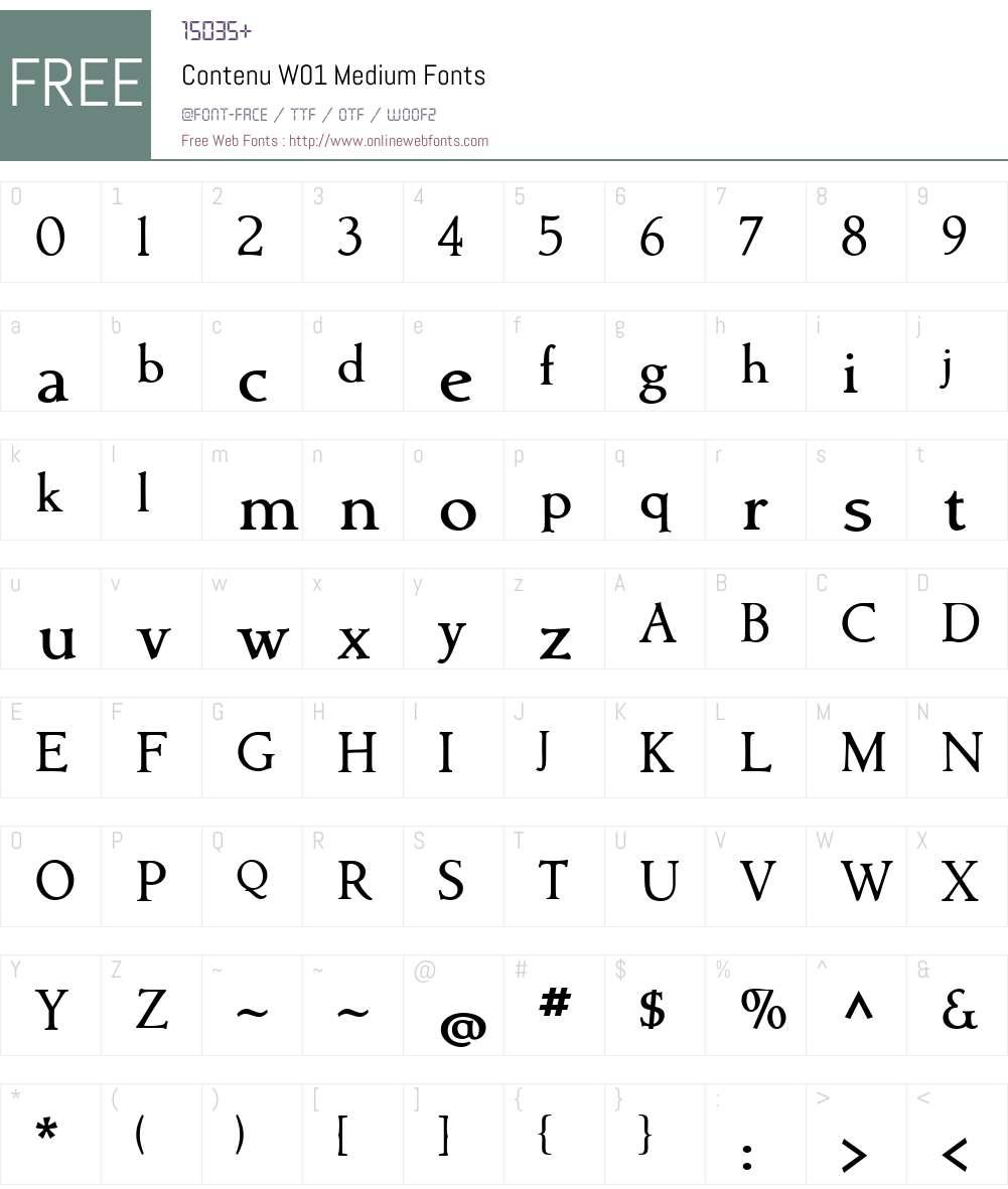ContenuW01-Medium Font Screenshots