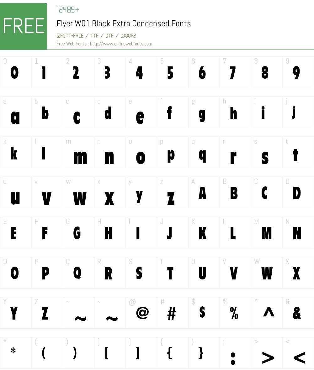 FlyerW01-BlackExtraCond Font Screenshots