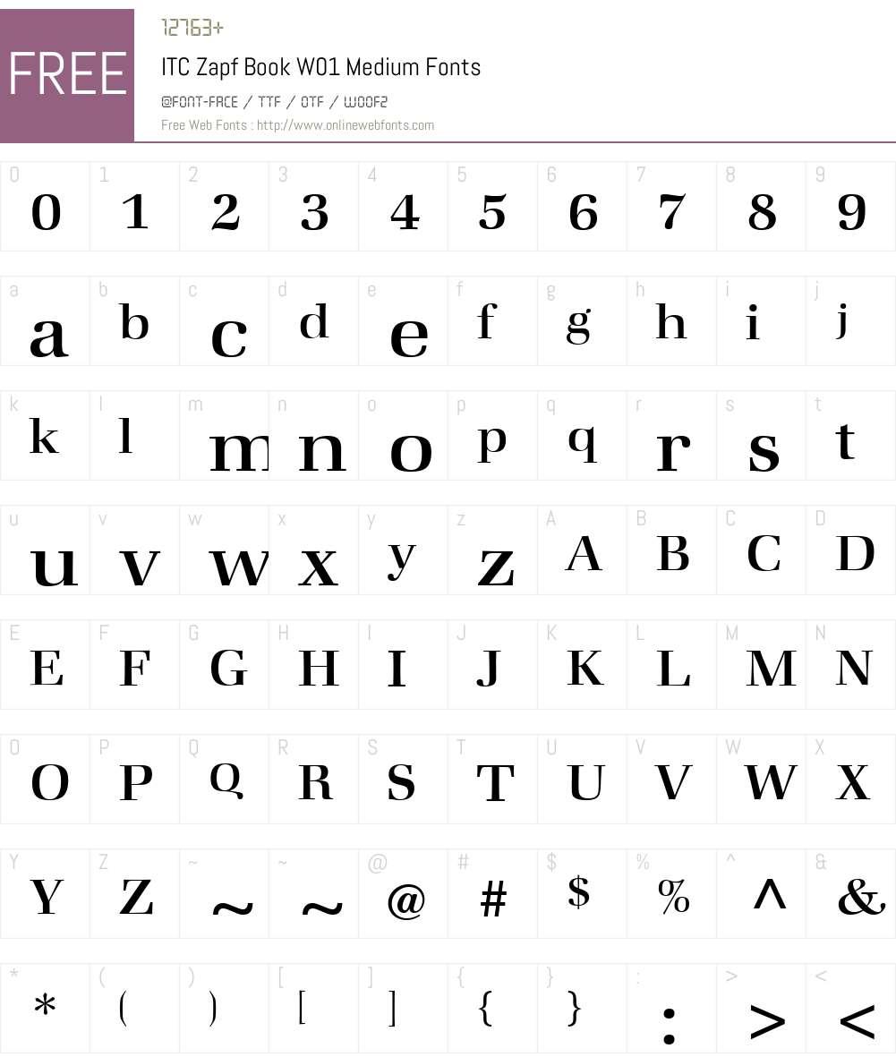 ITCZapfBookW01-Medium Font Screenshots