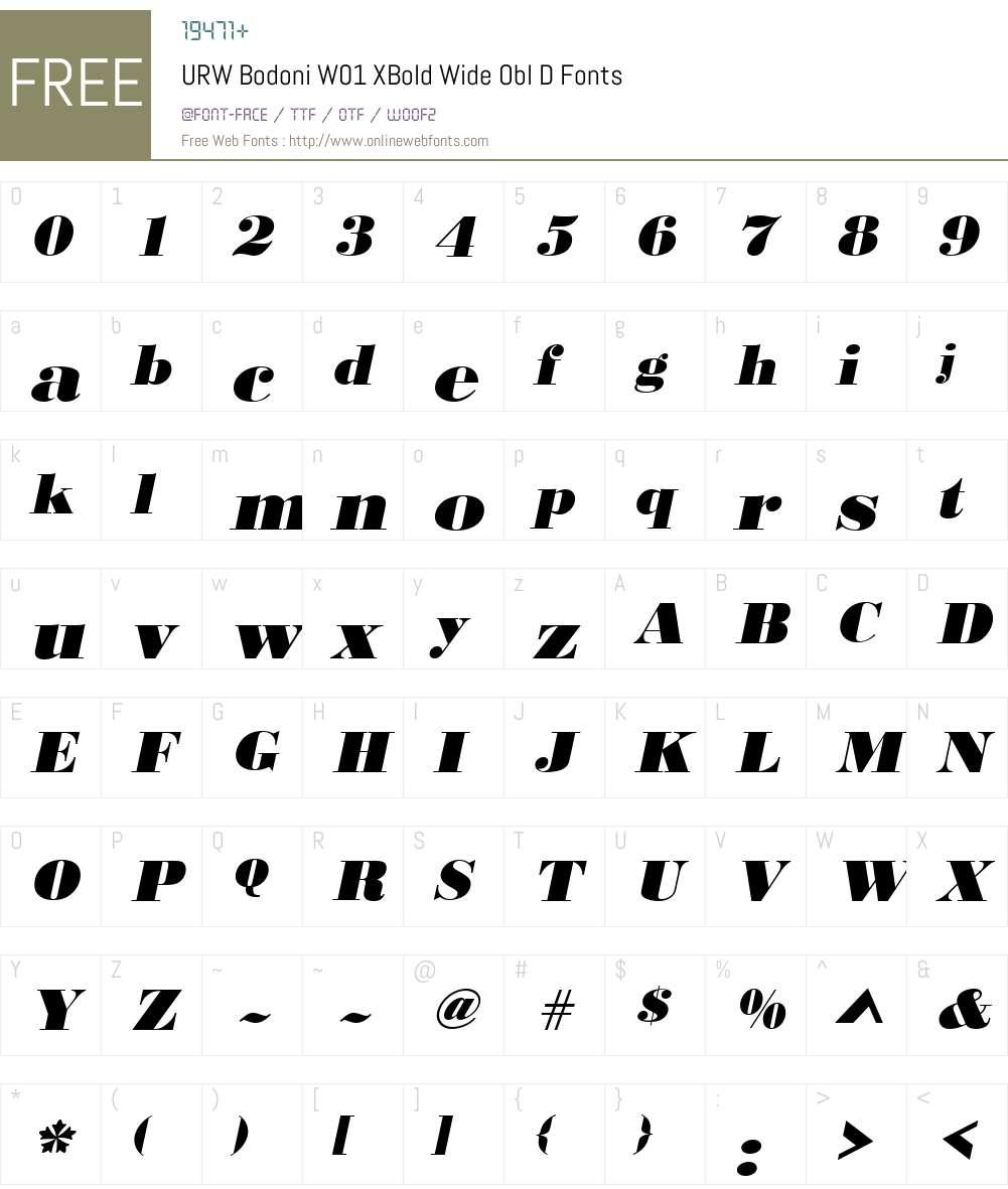 URWBodoniW01-XBoldWideOblD Font Screenshots