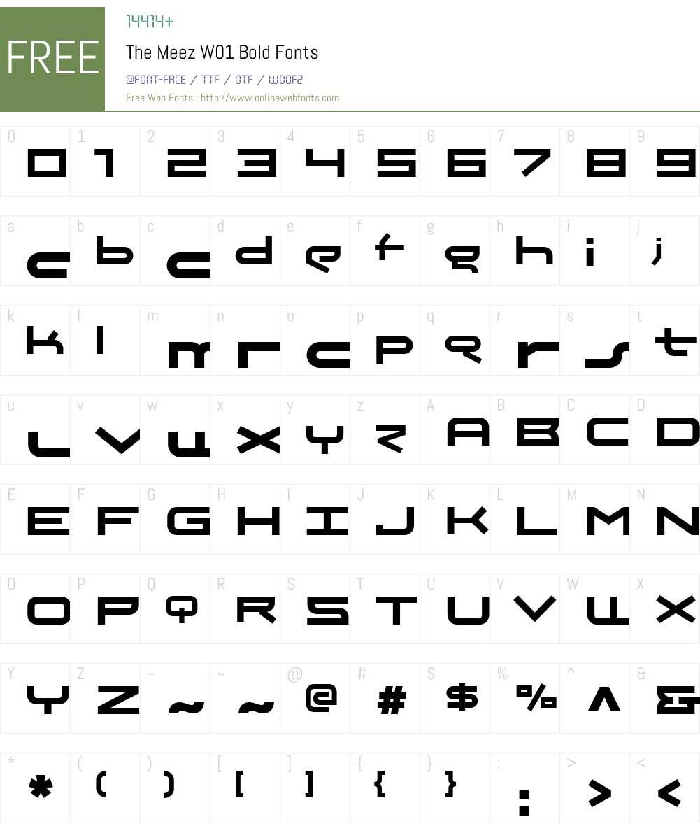 TheMeezW01-Bold Font Screenshots