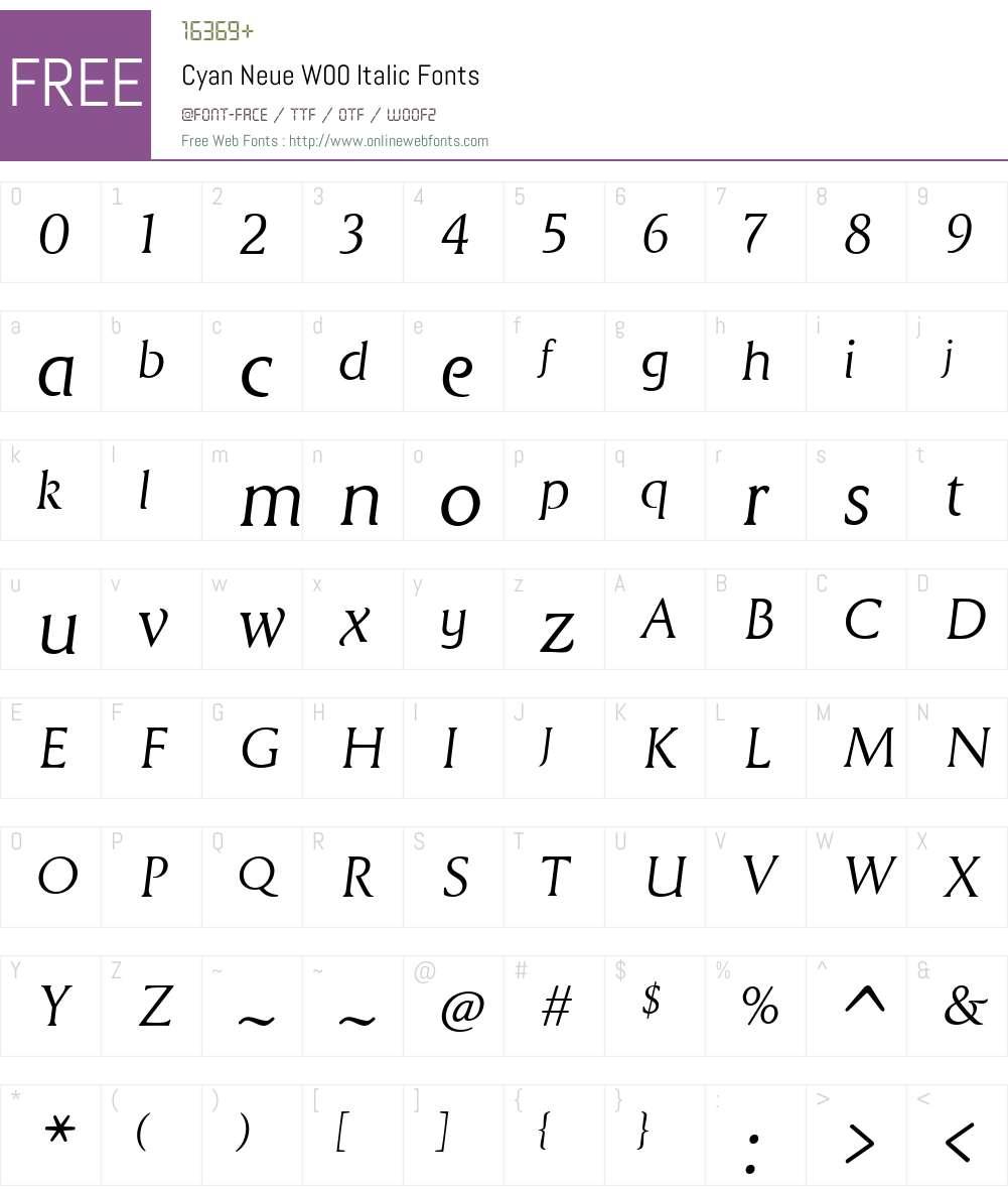 CyanNeueW00-Italic Font Screenshots