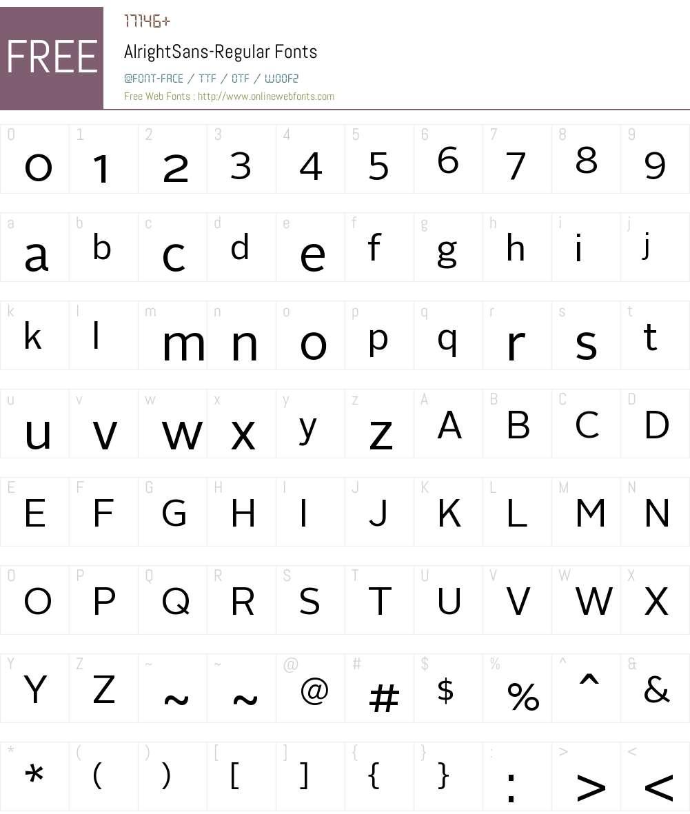 Alright Sans Regular Font Screenshots