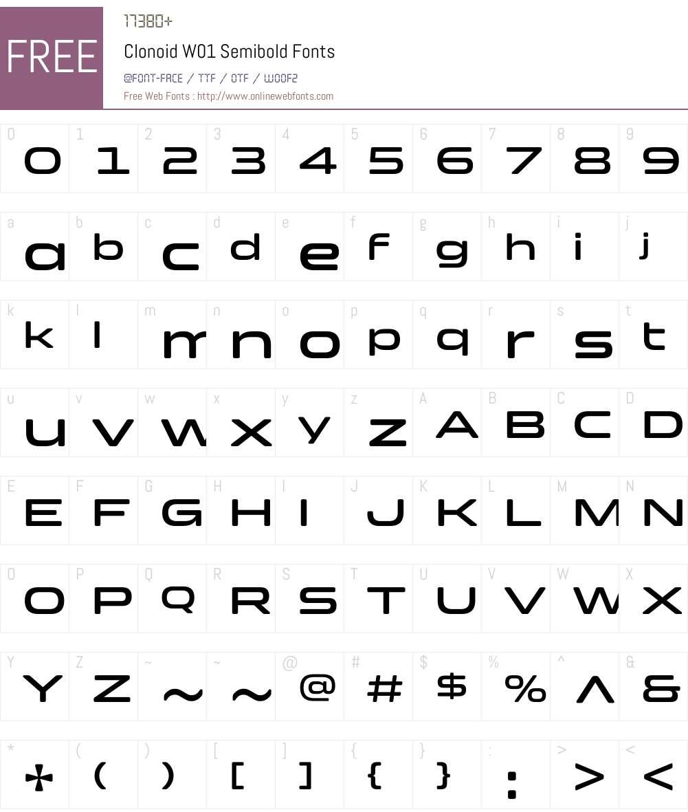 ClonoidW01-Semibold Font Screenshots