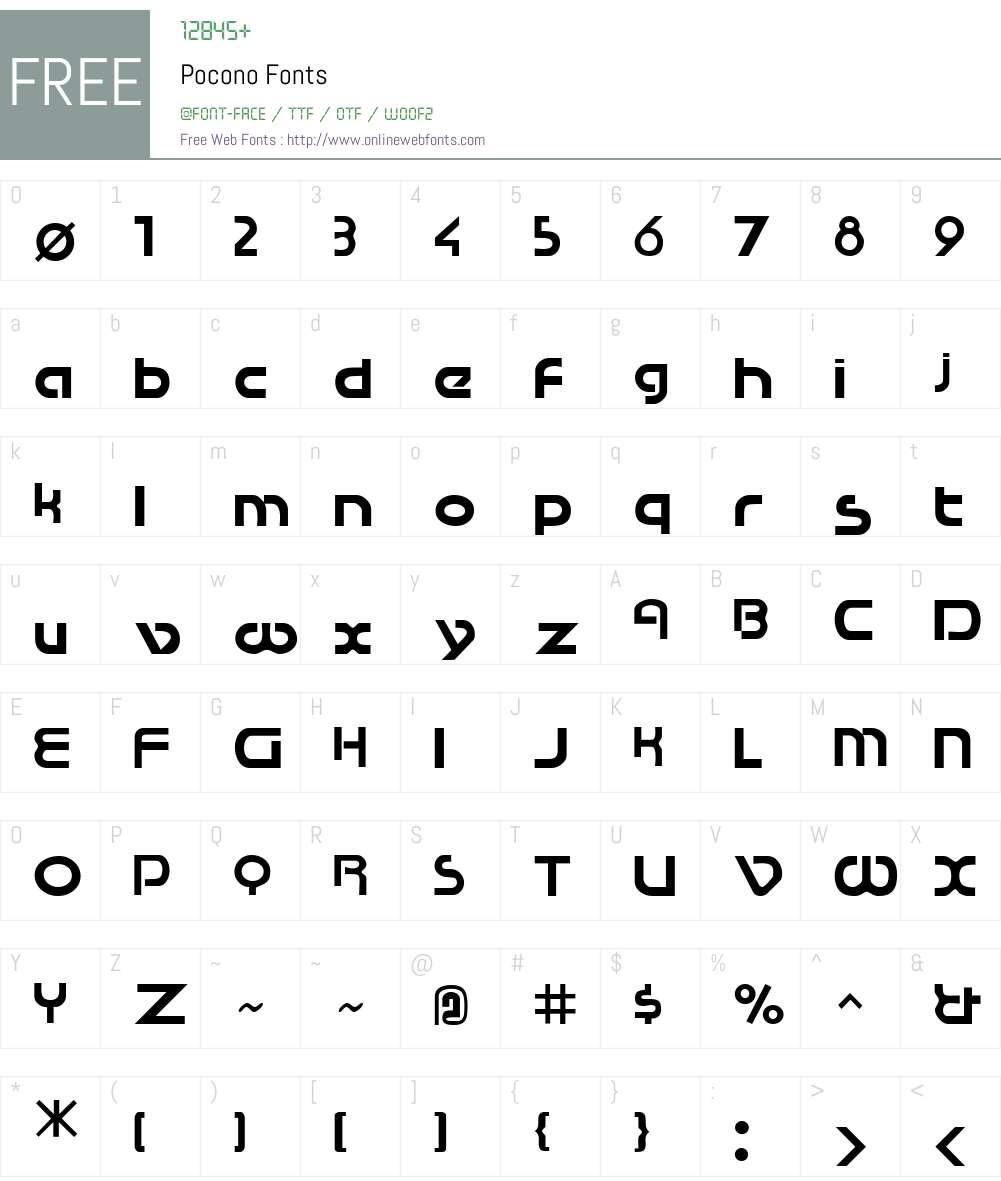 Pocono Font Screenshots