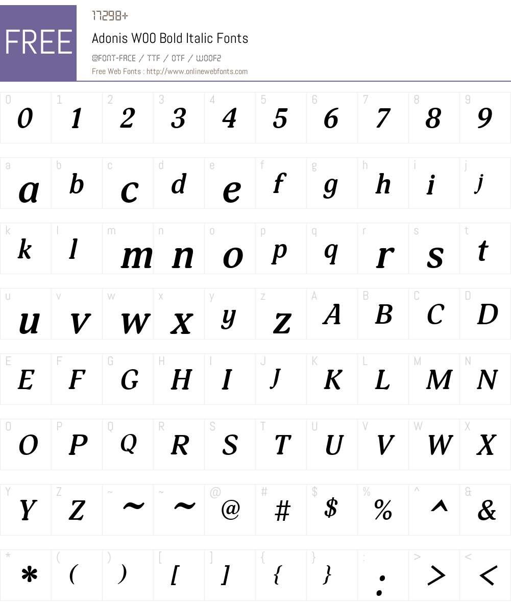AdonisW00-BoldItalic Font Screenshots