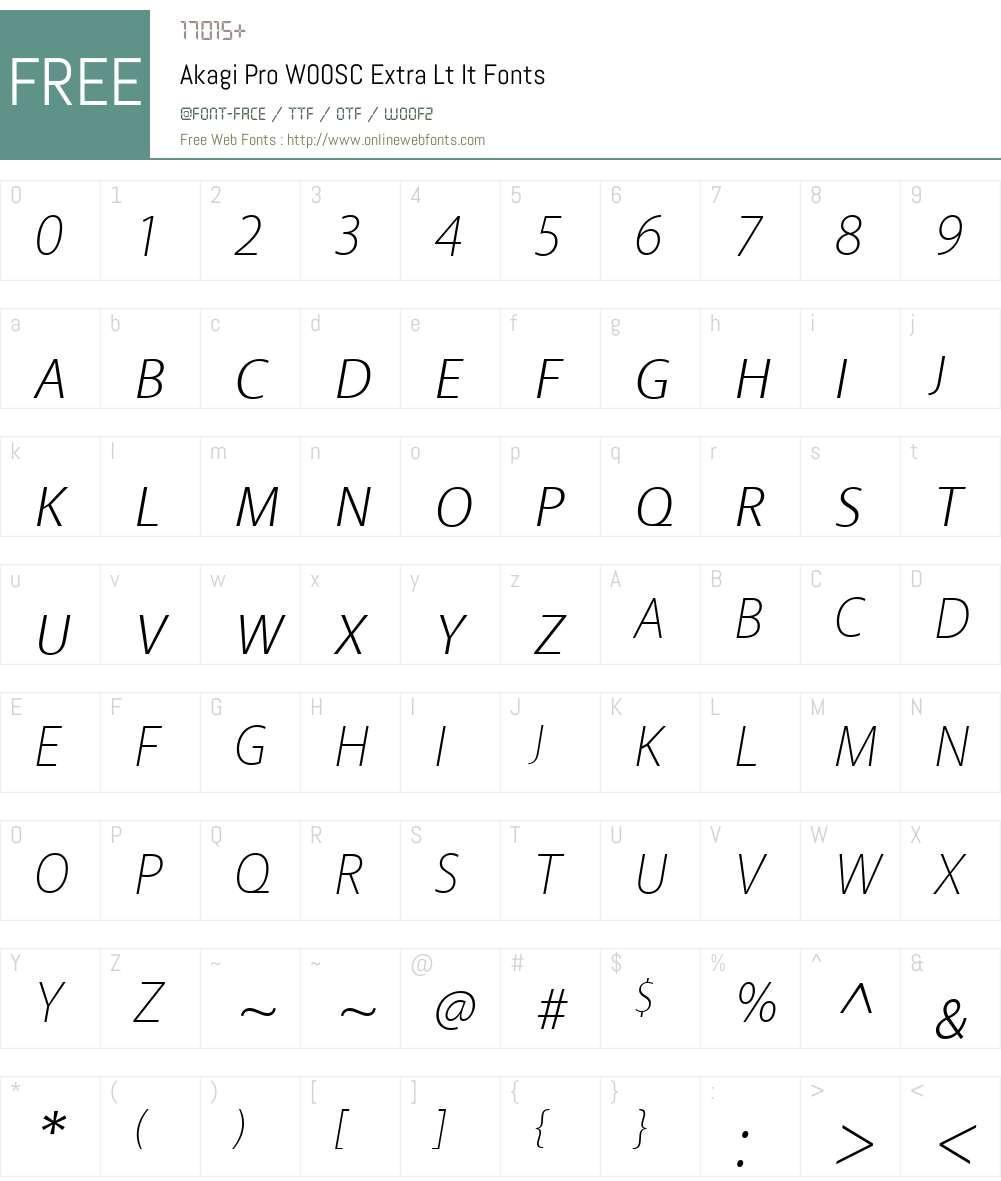 Akagi Pro Font Screenshots