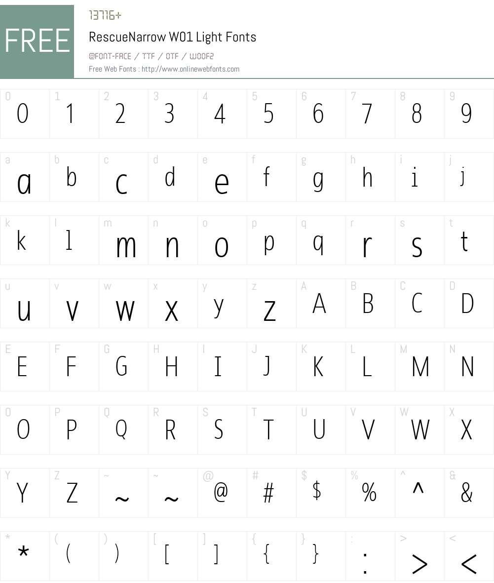 RescueNarrowW01-Light Font Screenshots