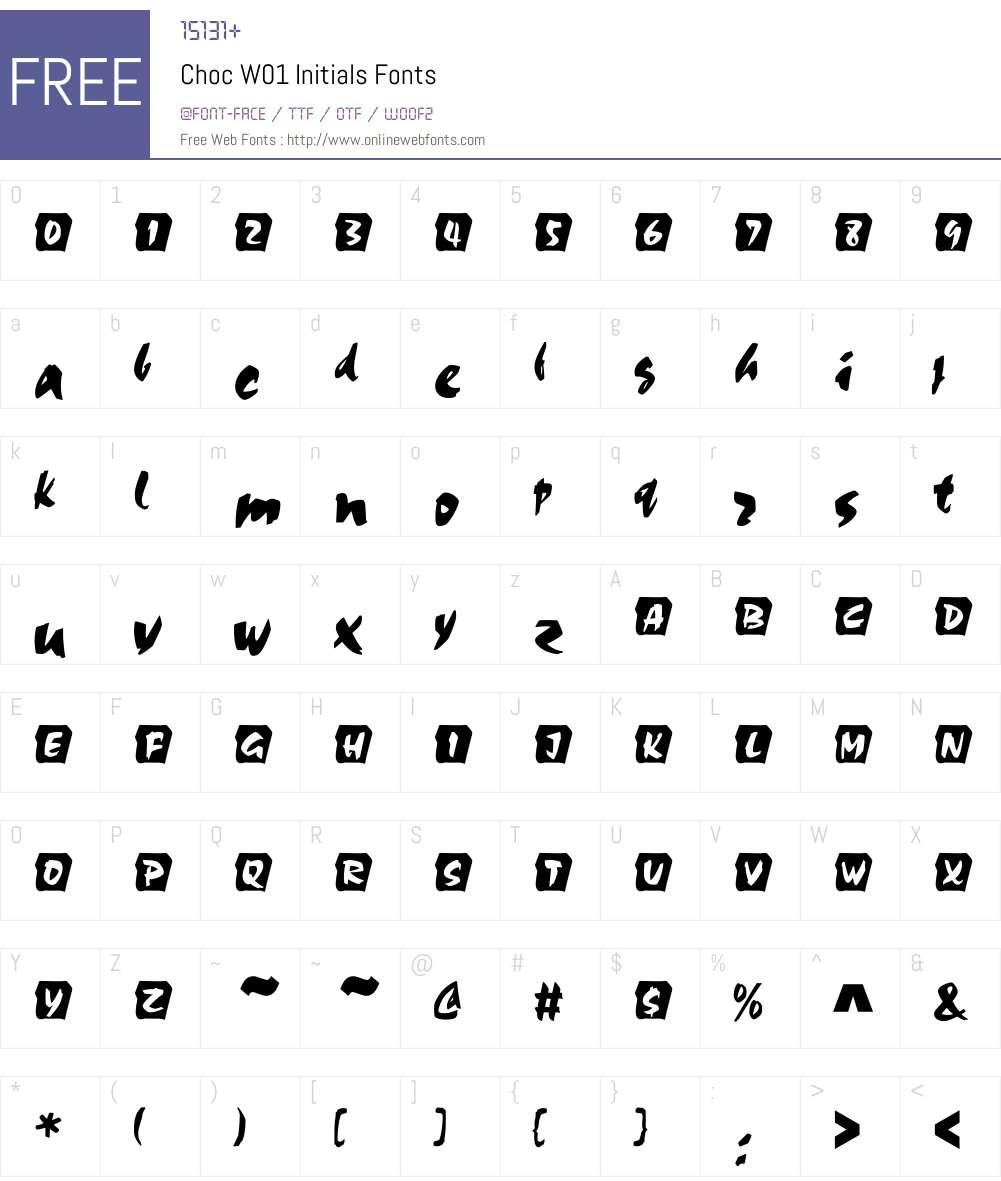 ChocW01-Initials Font Screenshots