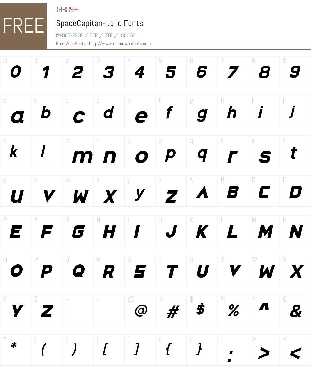 Space Capitan Italic Font Screenshots