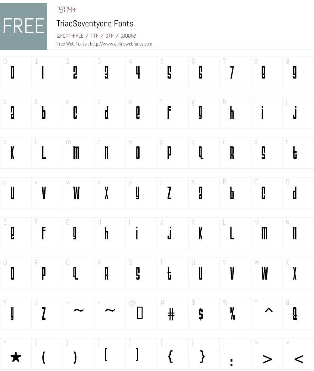 TriacSeventyone Font Screenshots