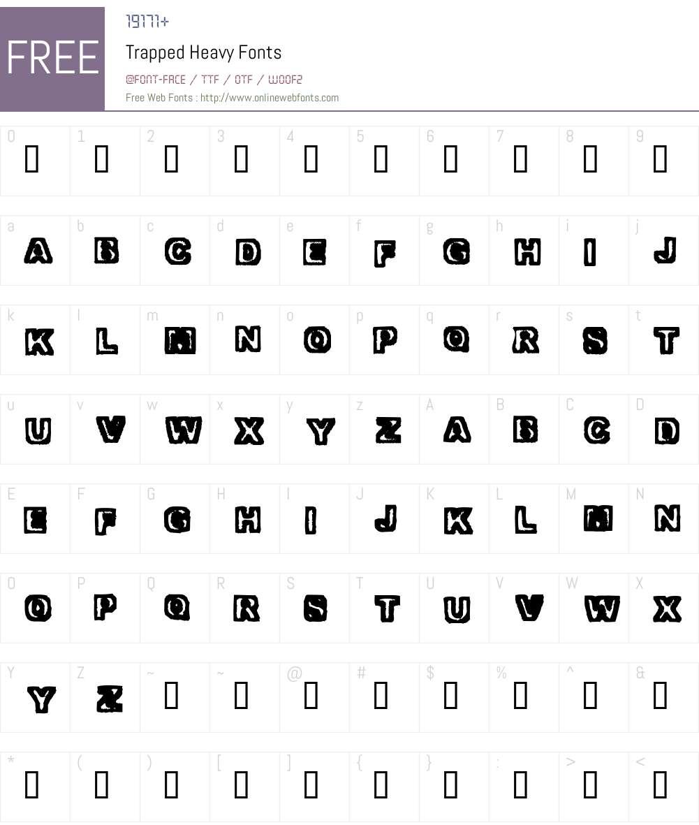 Trapped Font Screenshots