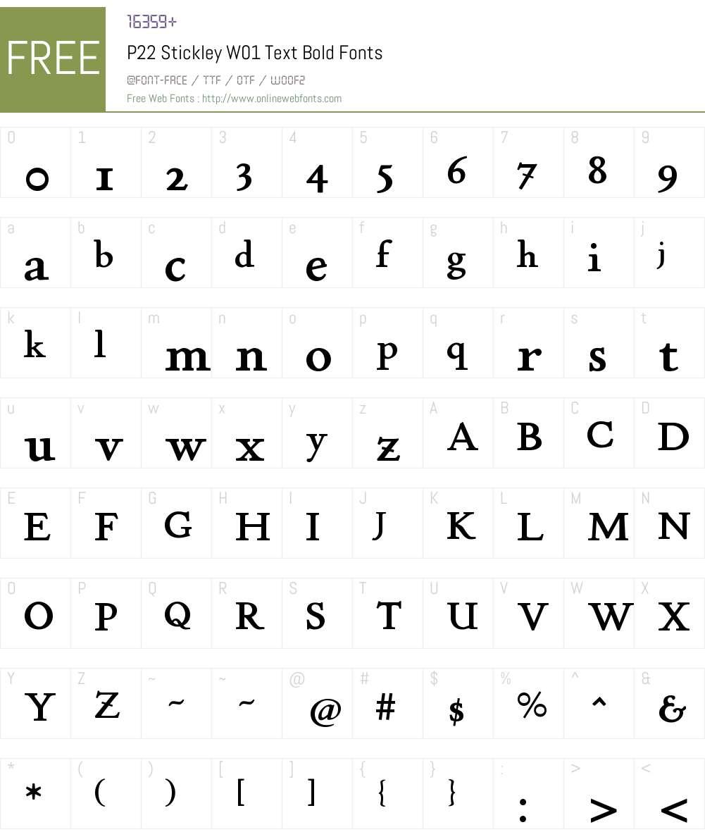 P22StickleyW01-TextBold Font Screenshots