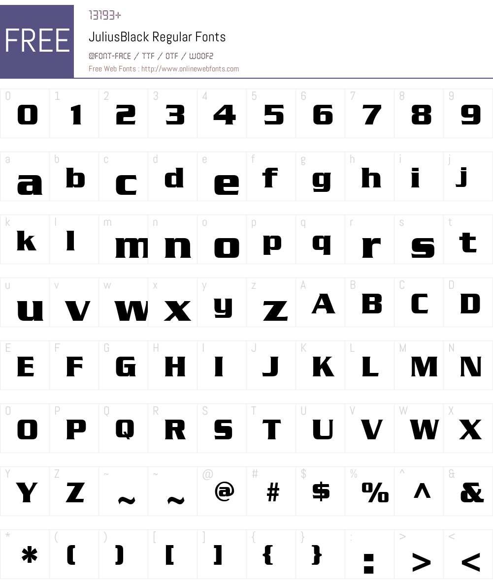 JuliusBlack Font Screenshots