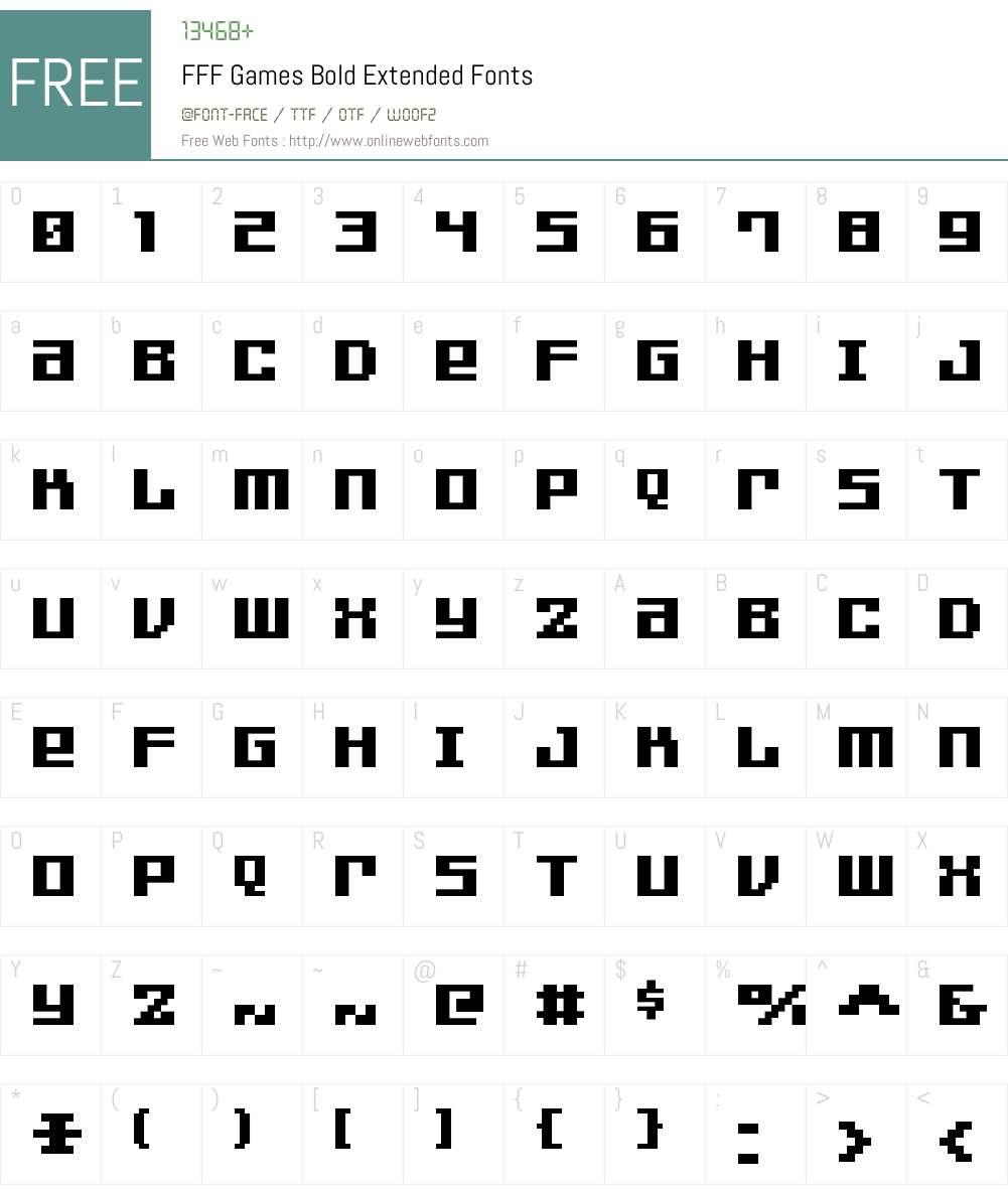 FFF Games Bold Extended Font Screenshots