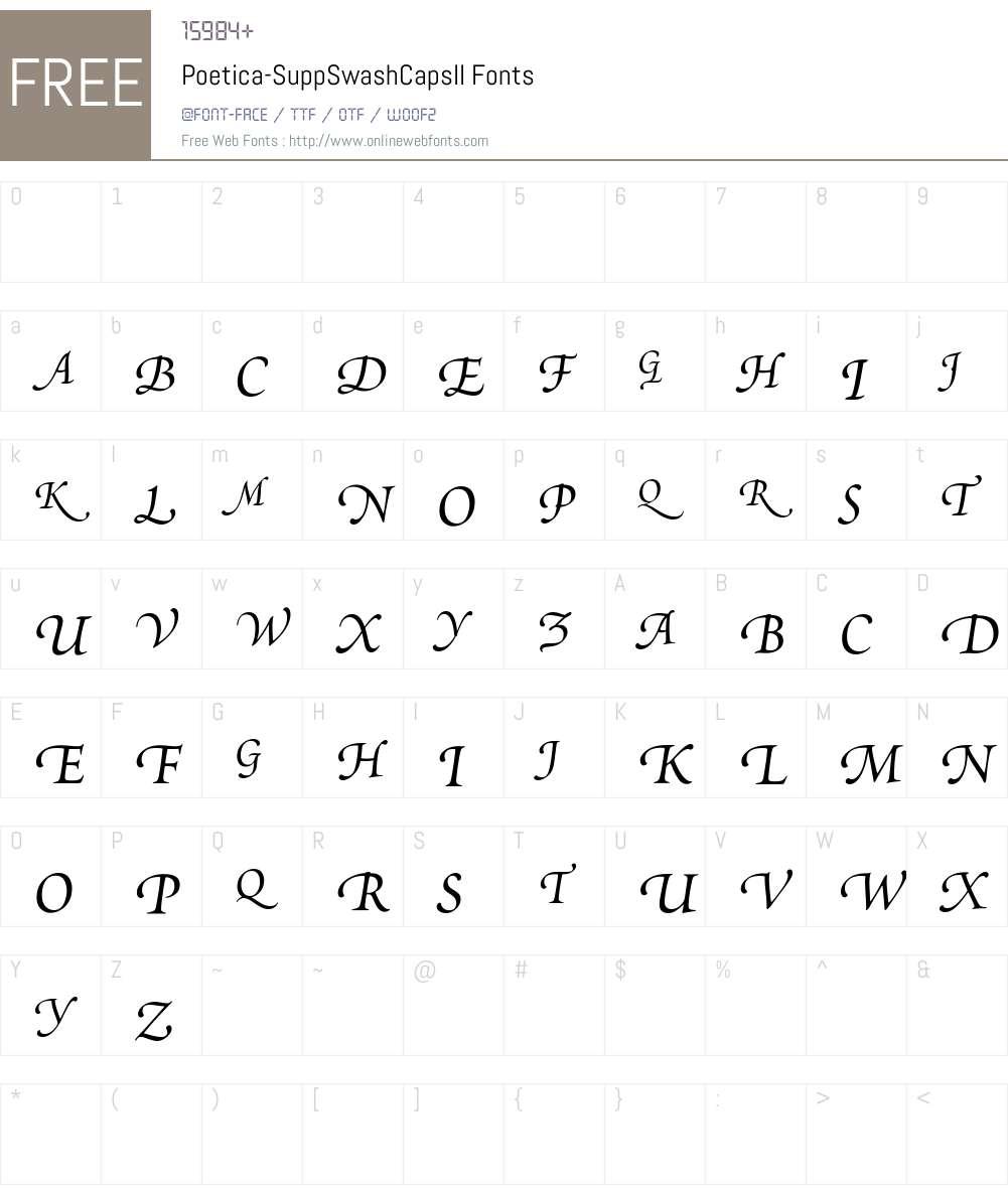 Poetica Supp Swash Capitals II Font Screenshots