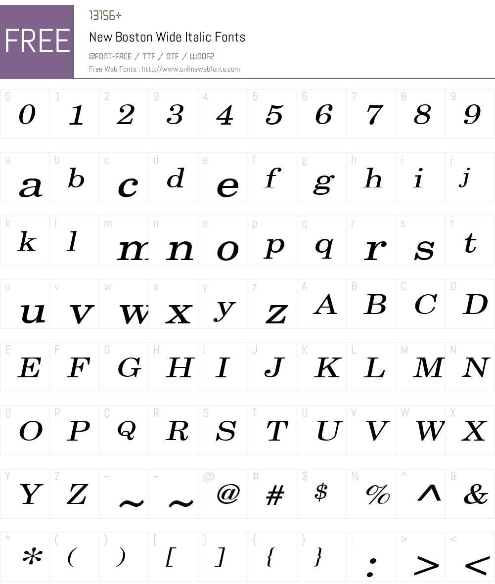 New Boston Wide Font Screenshots