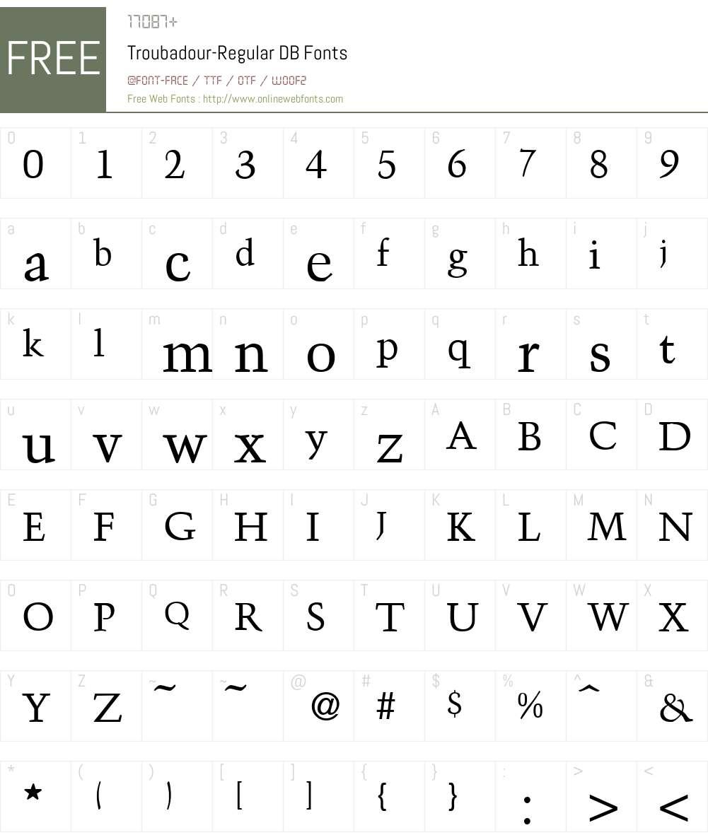 Troubadour DB Font Screenshots