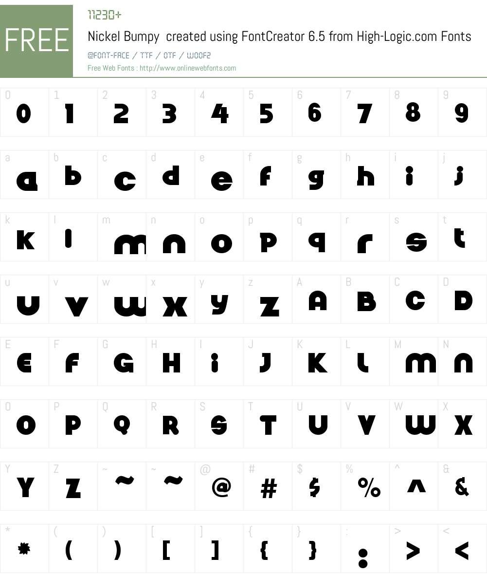Nickel Bumpy  created using FontCreator 6.5 from High-Logic.com Font Screenshots