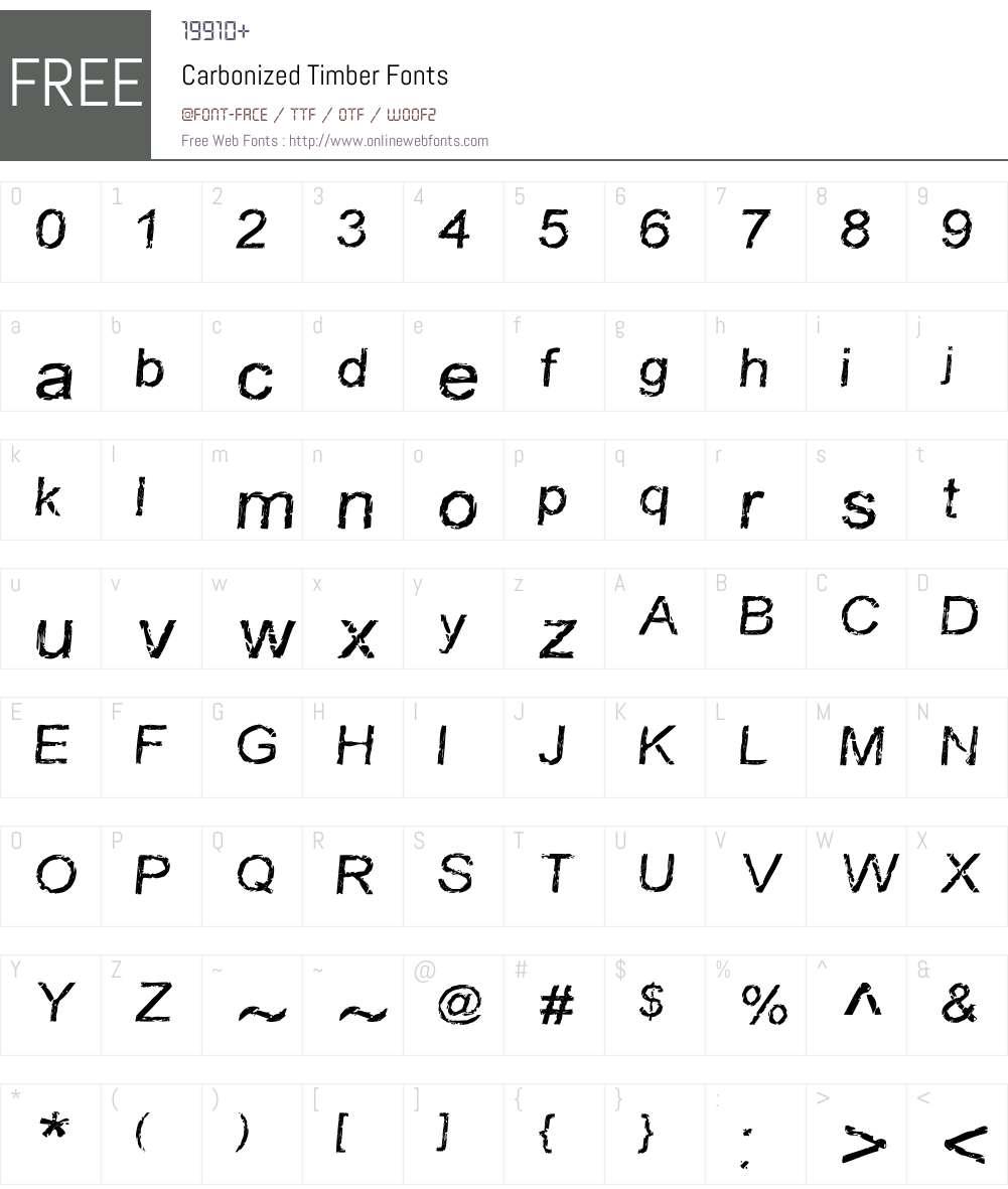 Carbonized Timber Font Screenshots