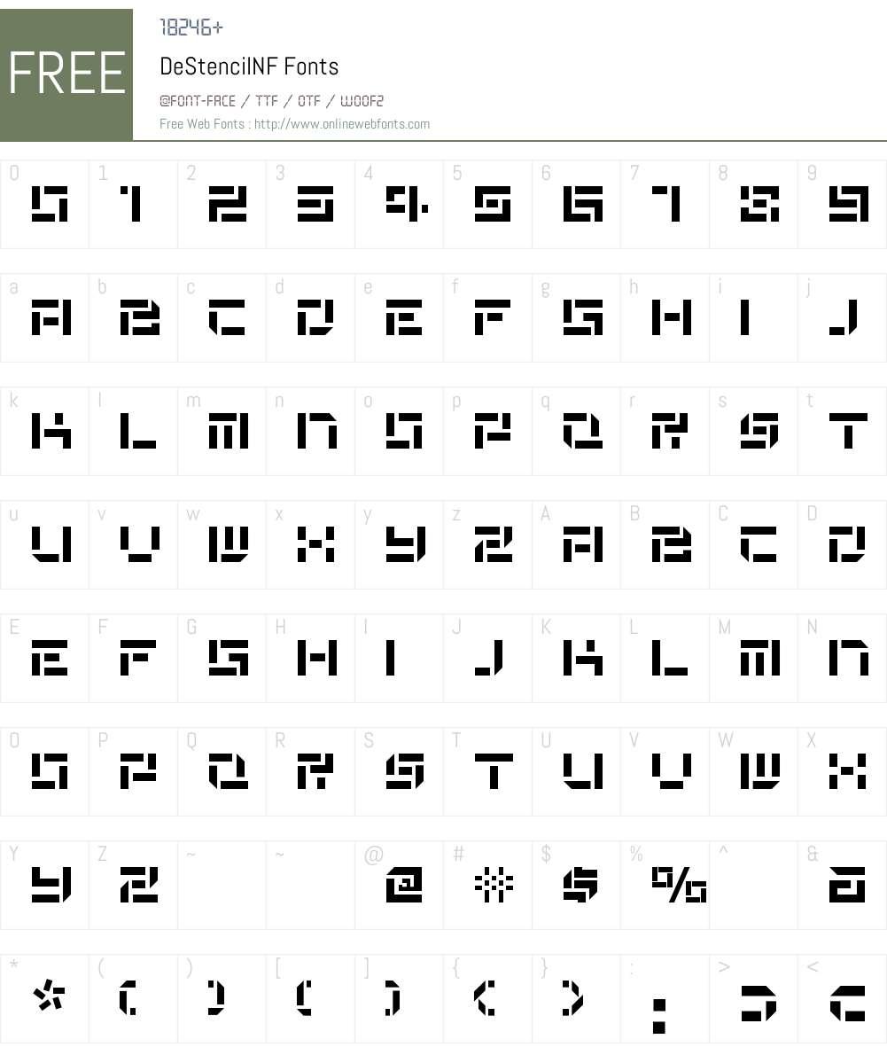 De Stencil NF Font Screenshots